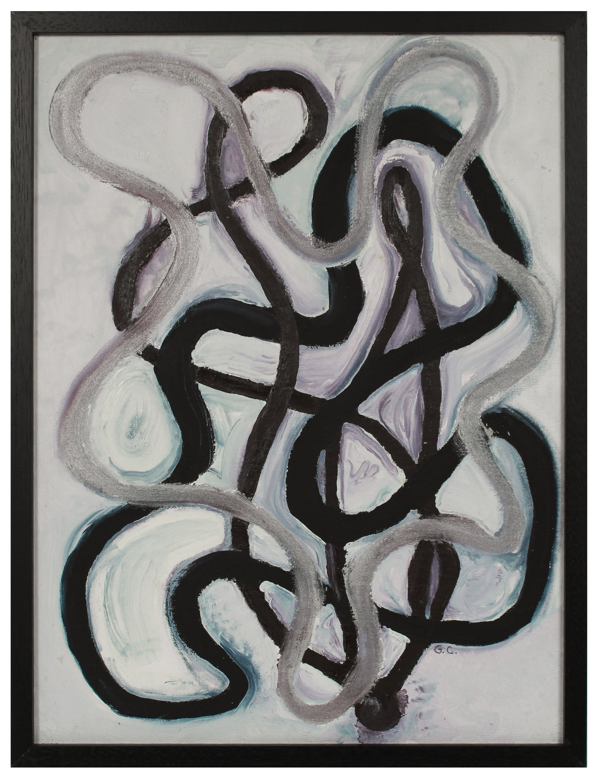 <i>Black, Brown, Silver, Composition Abstract </i> <br>2020 Oil on Canvas Mounted to Board <br><br>#B2053
