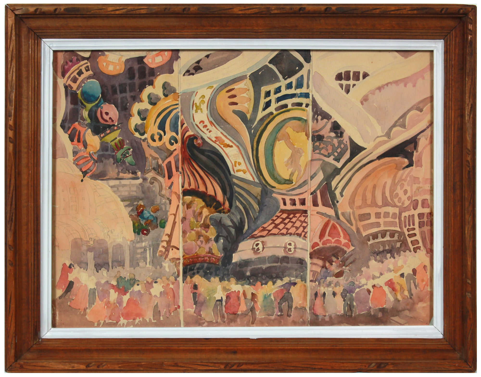 Three Part Fair Scene<br>Mid Century Watercolor<br><br>#B2141