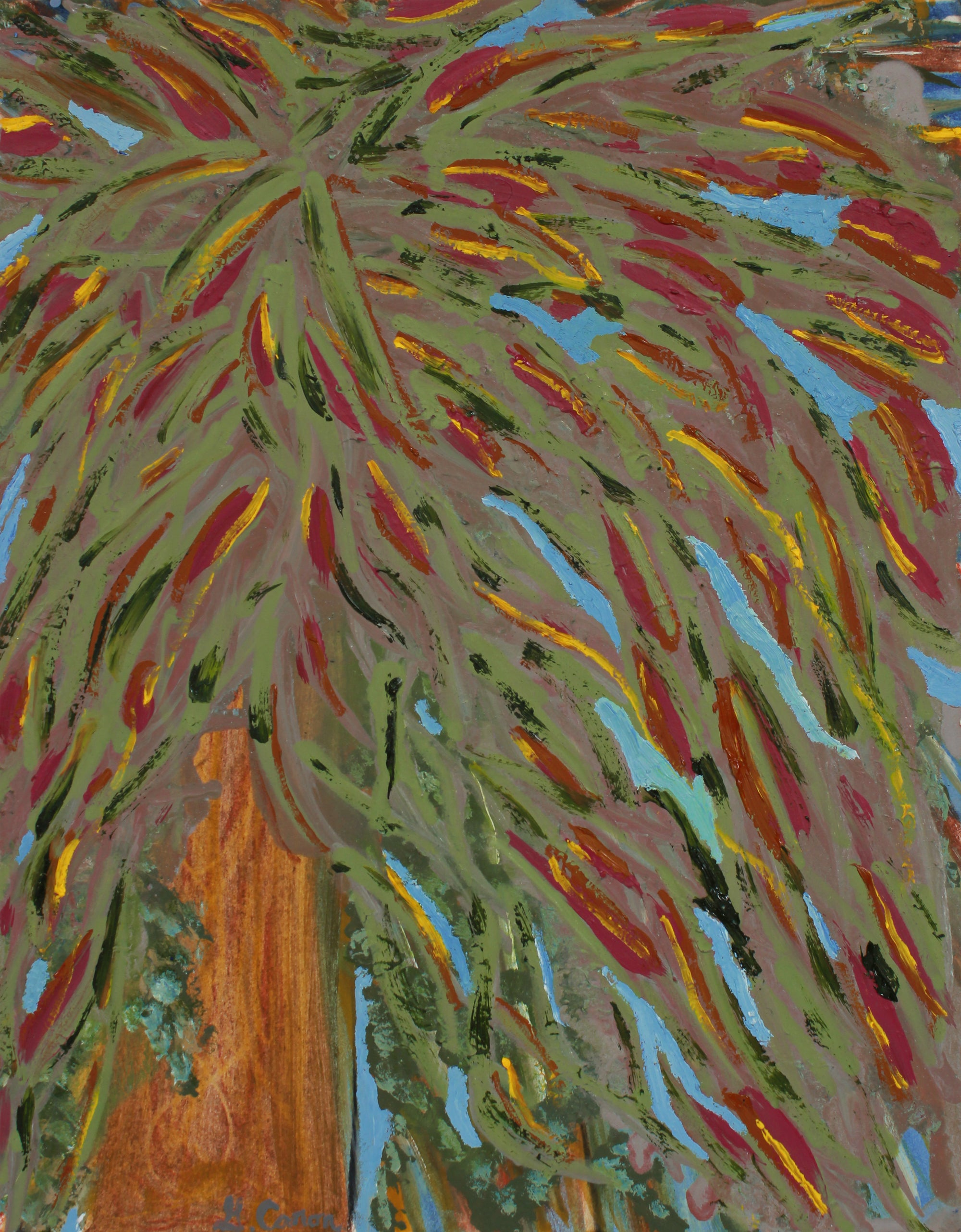 <i>Under the Redwood</i> <br>2020 Pencil, Chalk Pastel and Oil <br><br>#B2220