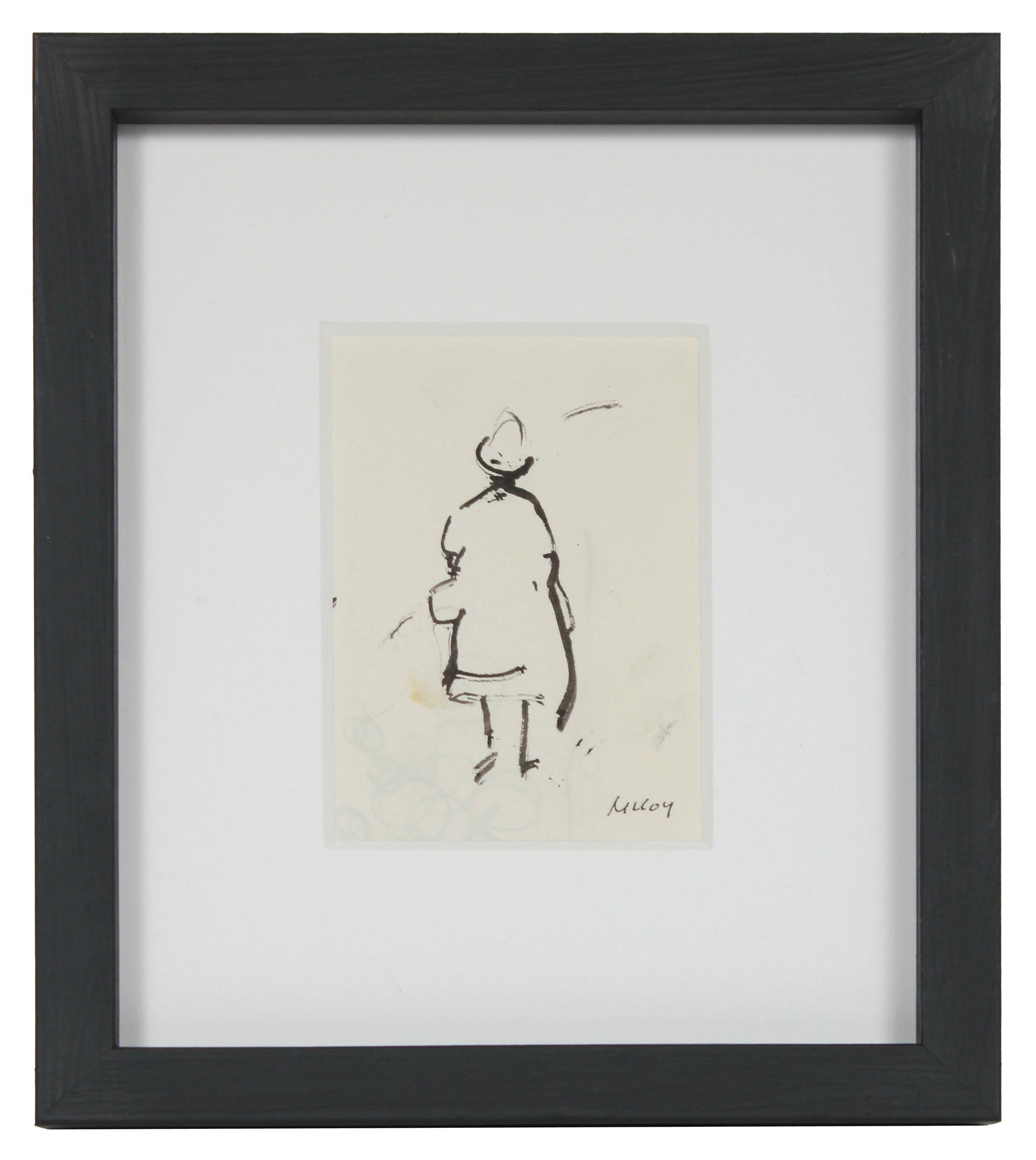 Minimalist Standing Figure <br>1950s Ink Drawing <br><br>#B2470