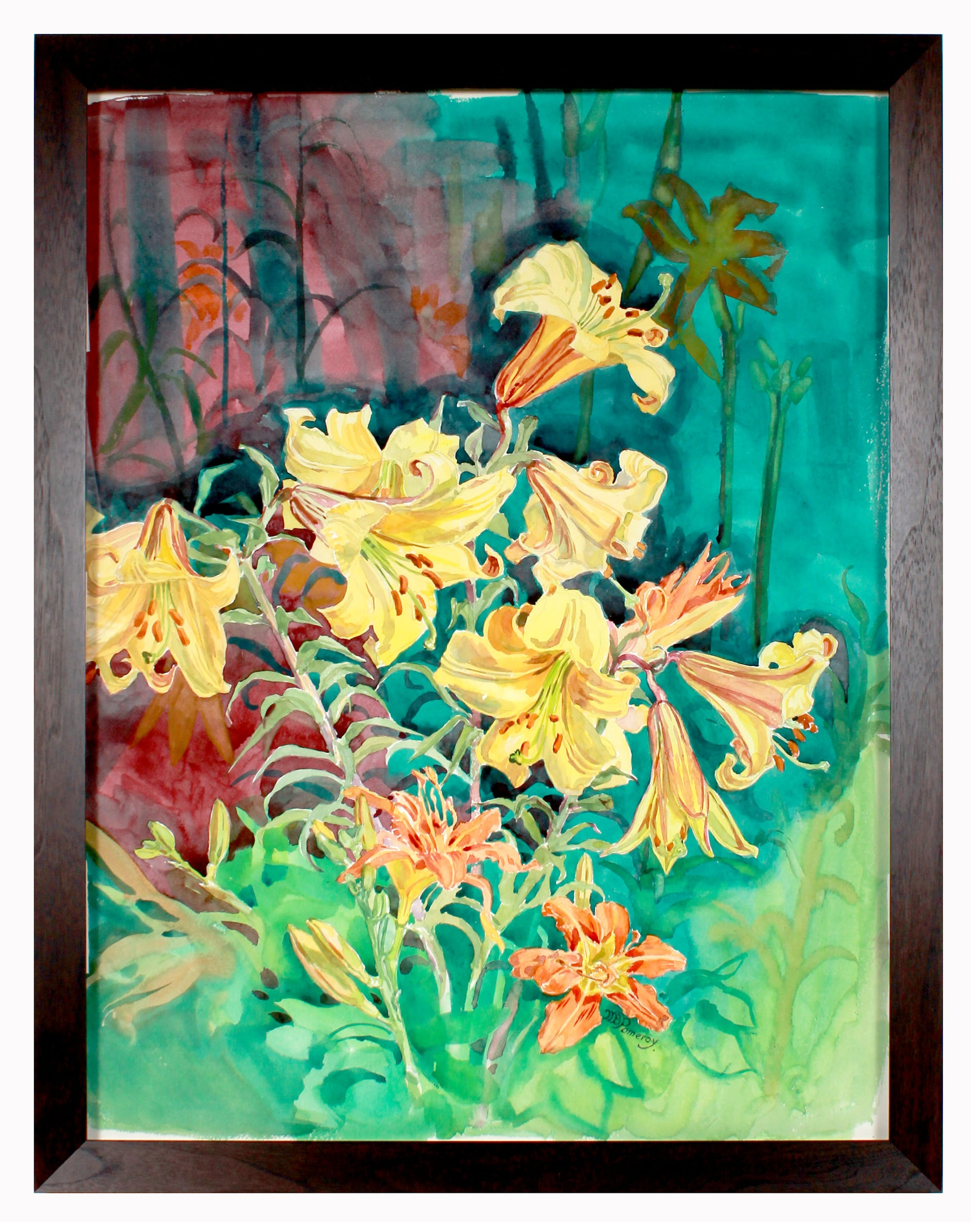Daylilies in Bloom <br>20th Century Watercolor <br><br>#B2513
