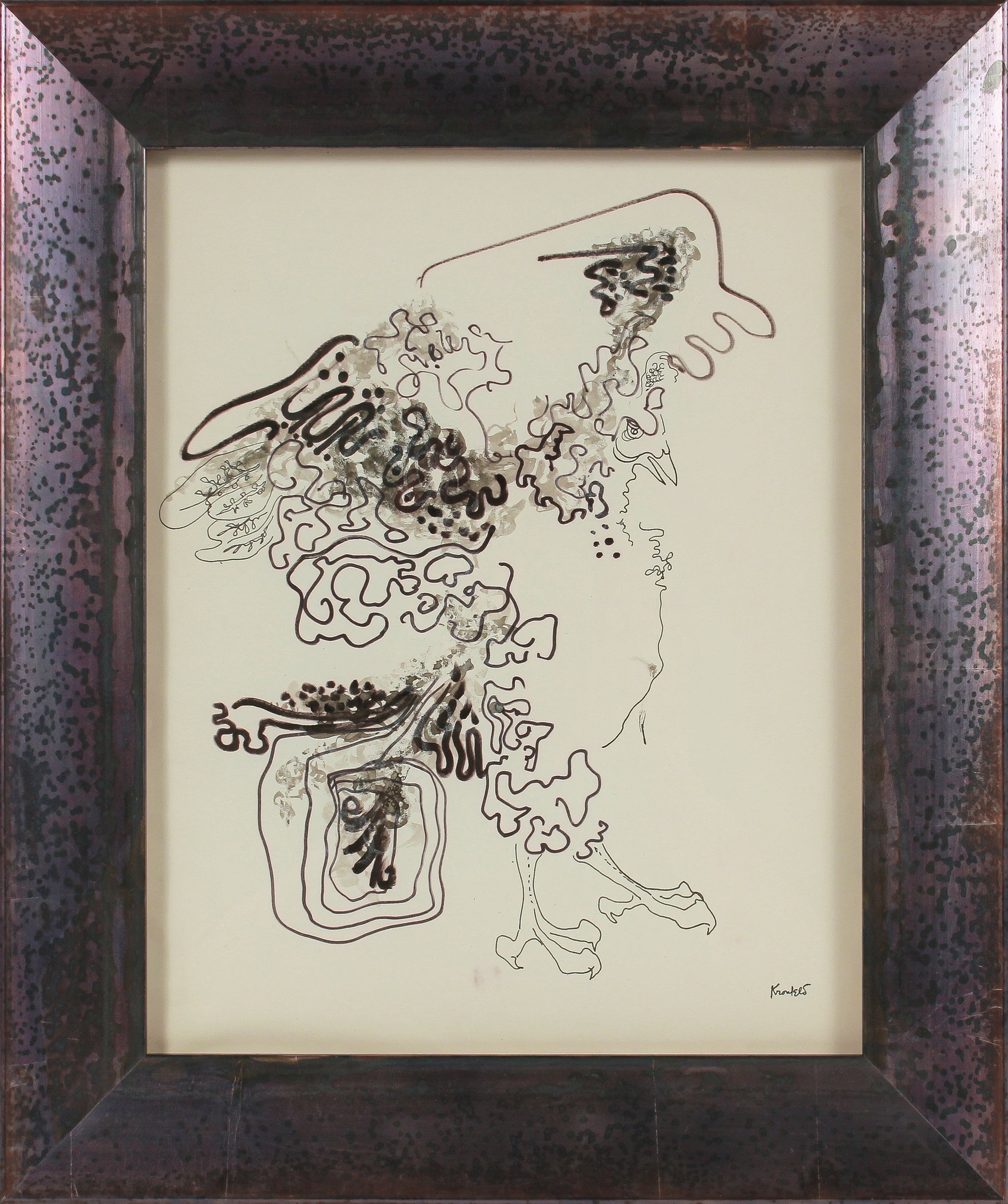 Surreal Abstracted Bird <br>1960-80s Ink <br><br>#B2637