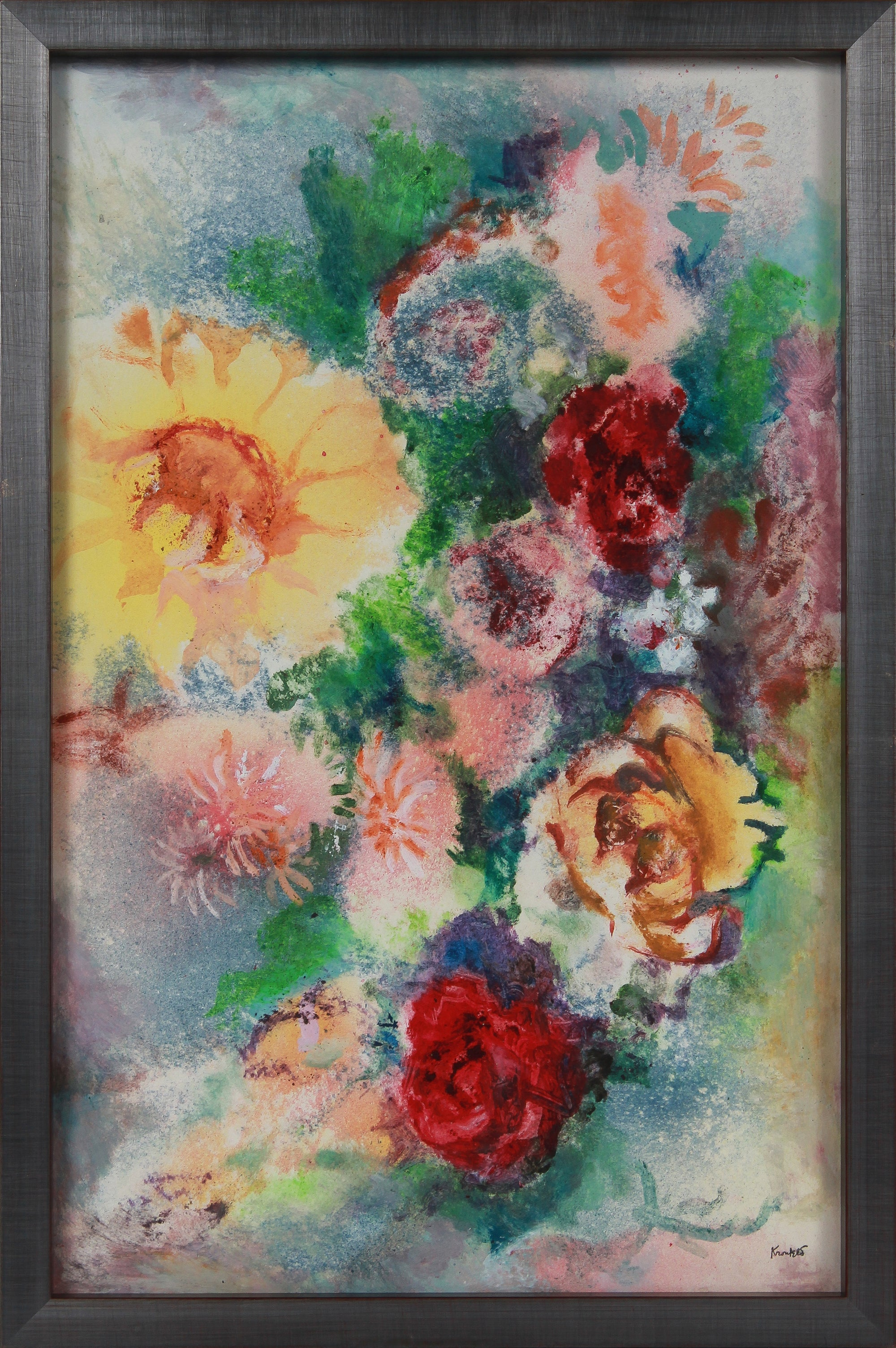 Vivid Floral Still Like <br>1960-70s Oil & Sand Mixed Media <br><br>#B2679