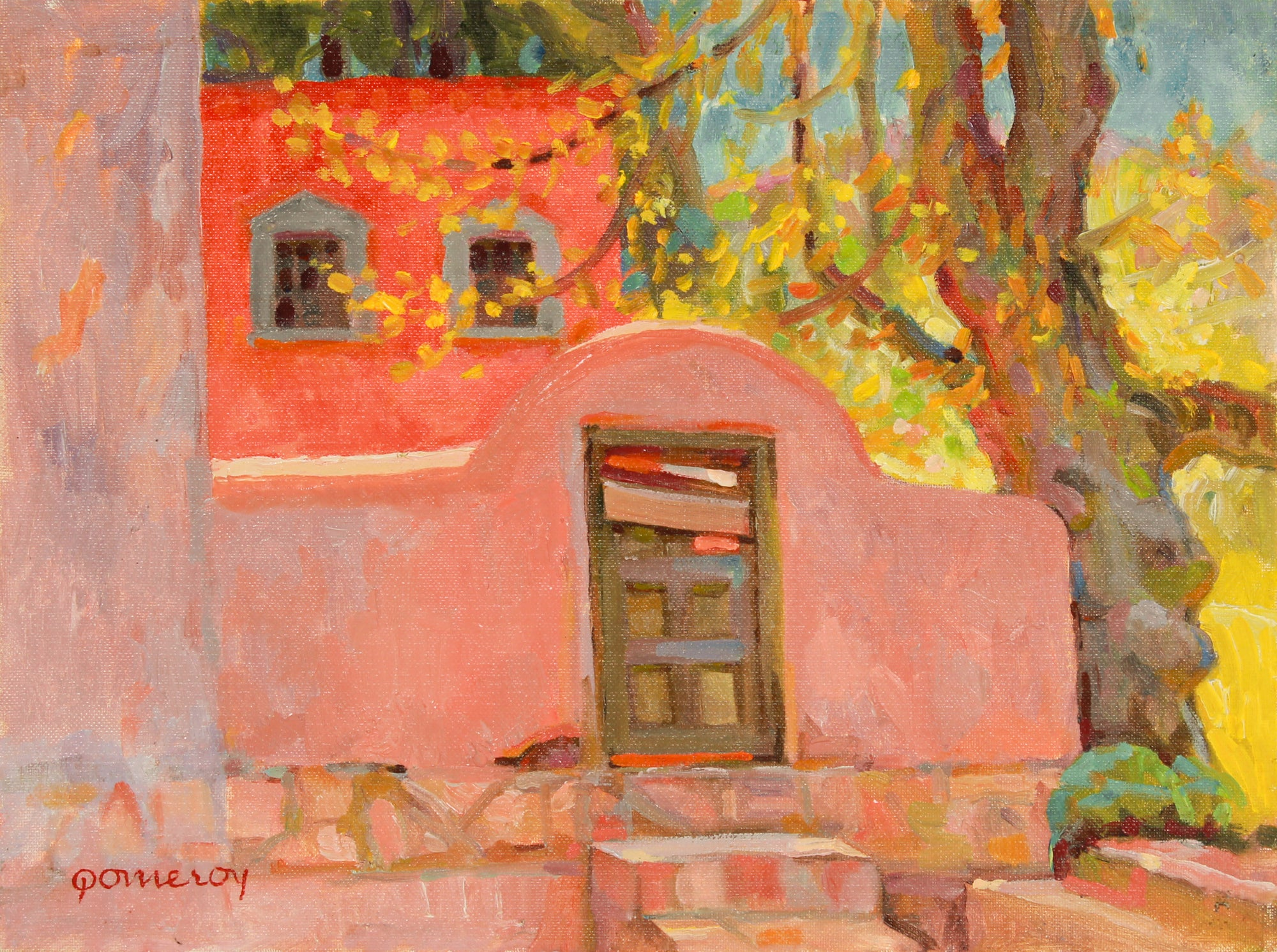 Red Adobe Home <br>20th Century Oil <br><br>#B2686
