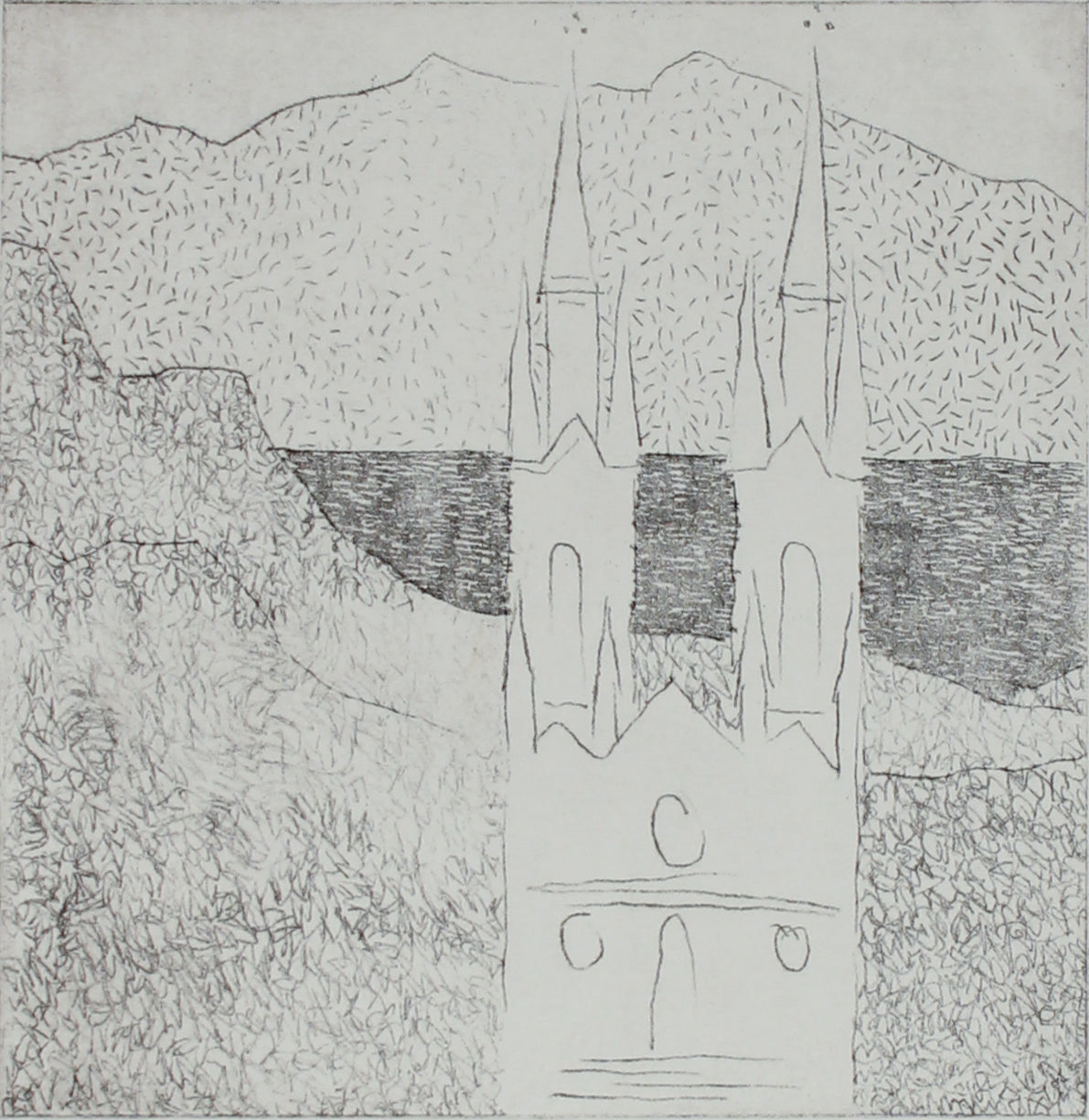 Minimalist View of St. Ignacios, San Francisco <br>20th Century Etching <br><br>#B2734