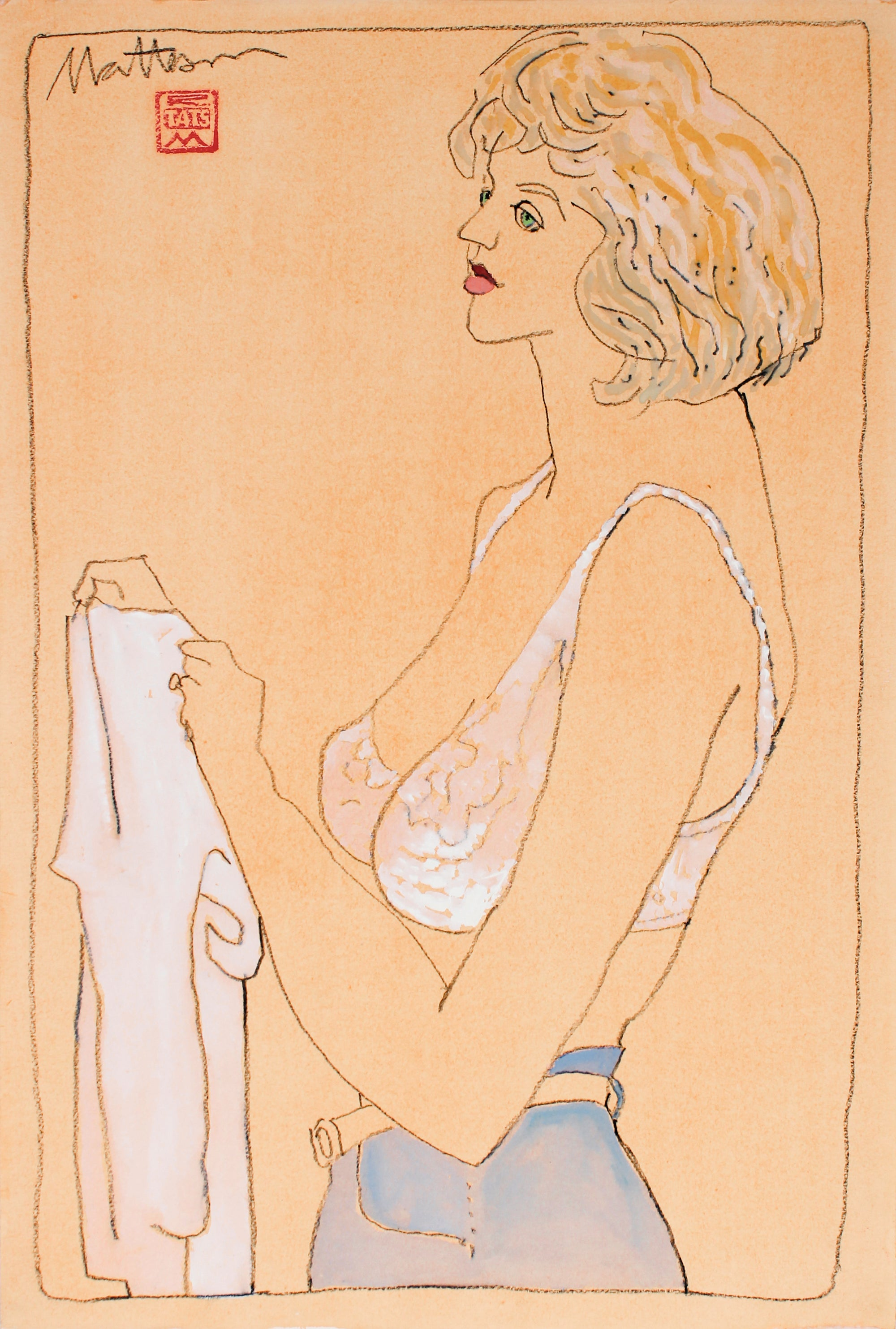 Casual Female Figure <br>1993 Gouache & Charcoal <br><br>#B2743