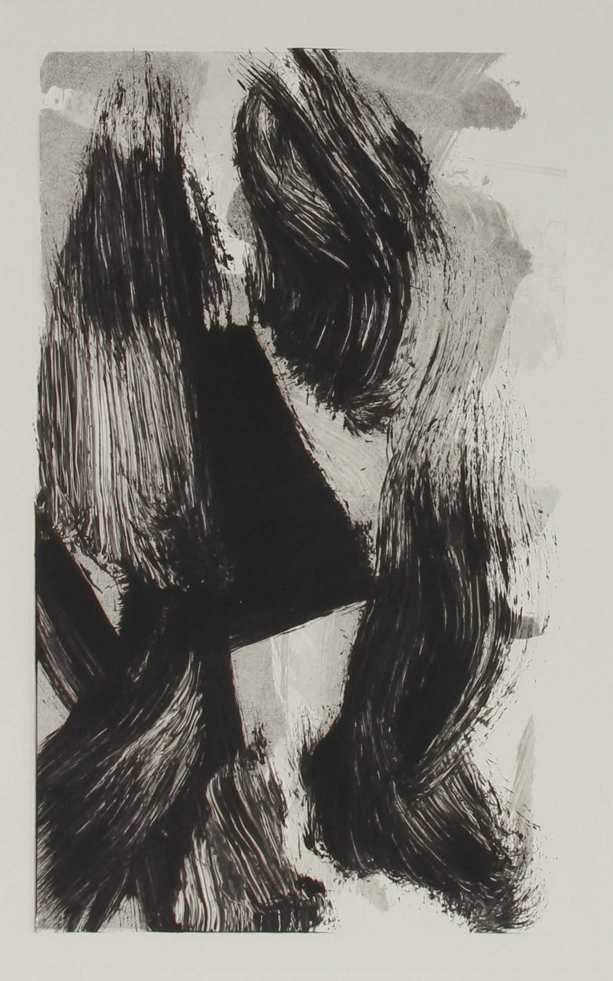 Monochromatic Dynamic Brushstroke Abstract<br>20th Century Monotype<br><br>#B2759
