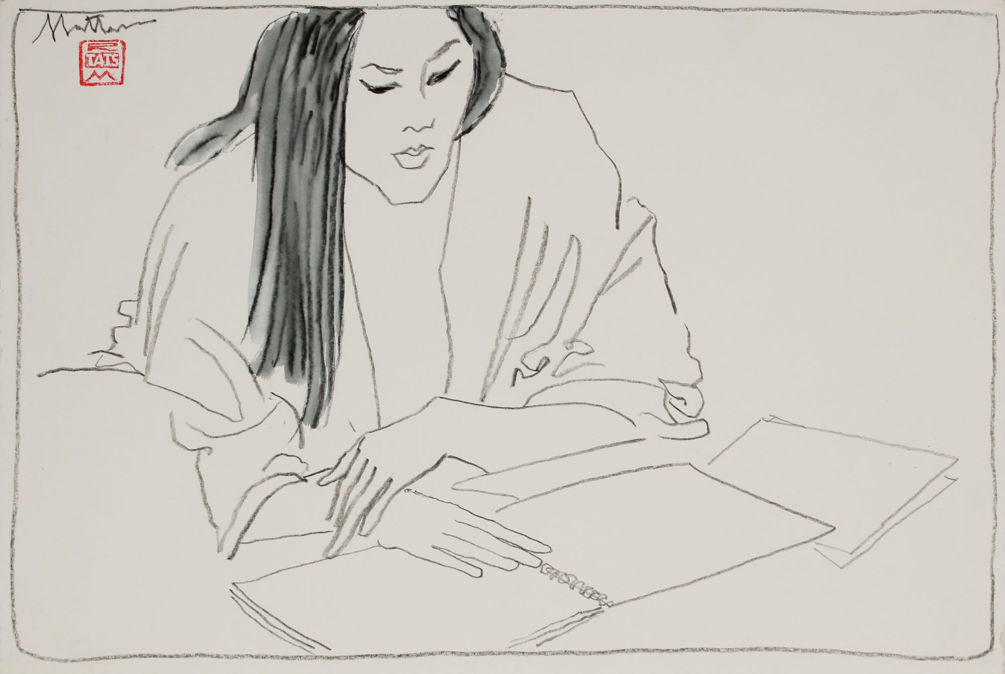 Female Figure Reading <br>20th Century Charcoal & Gouache <br><br>#B2947