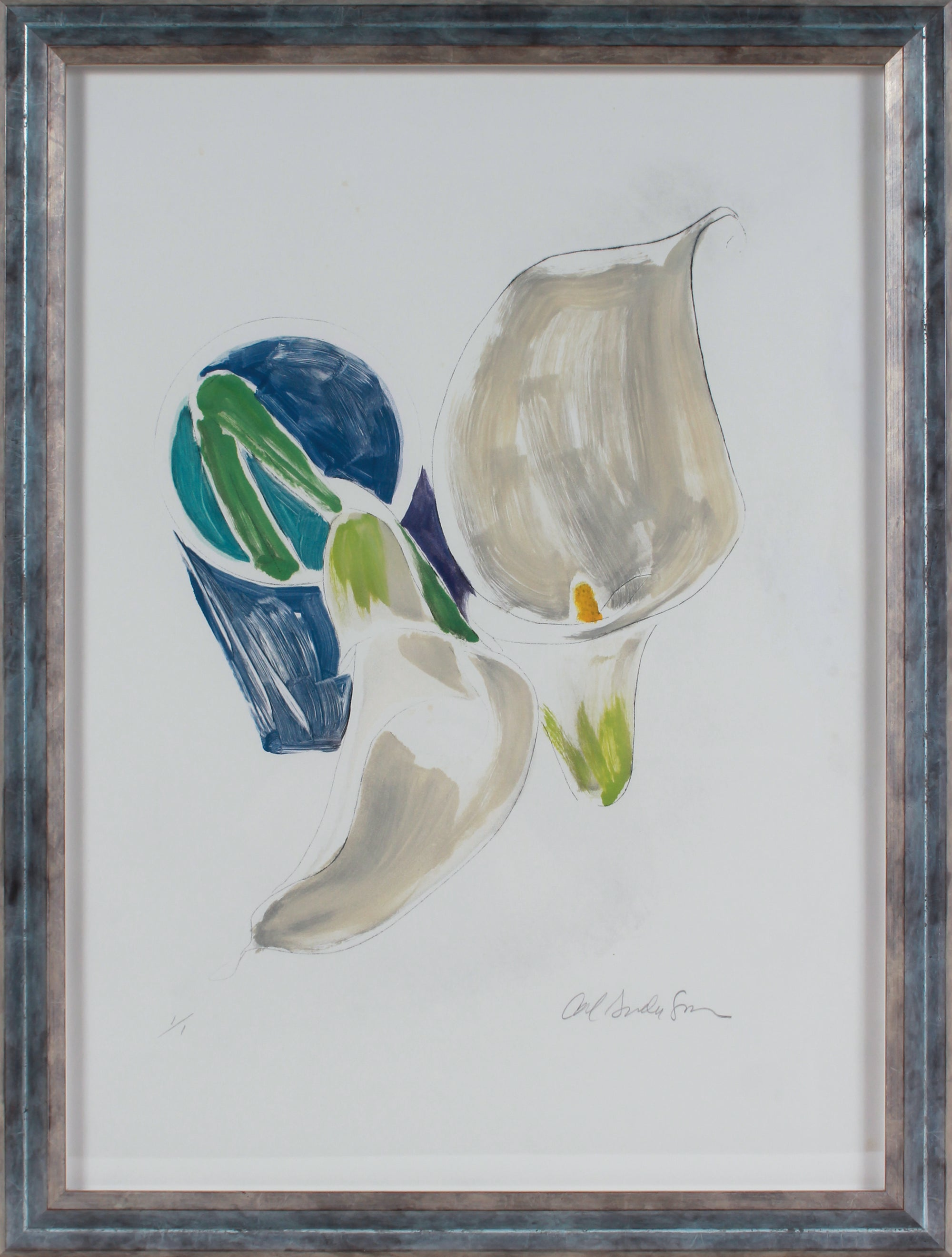 Calla Lilly in a Vase Monotype <br><br>#B3050