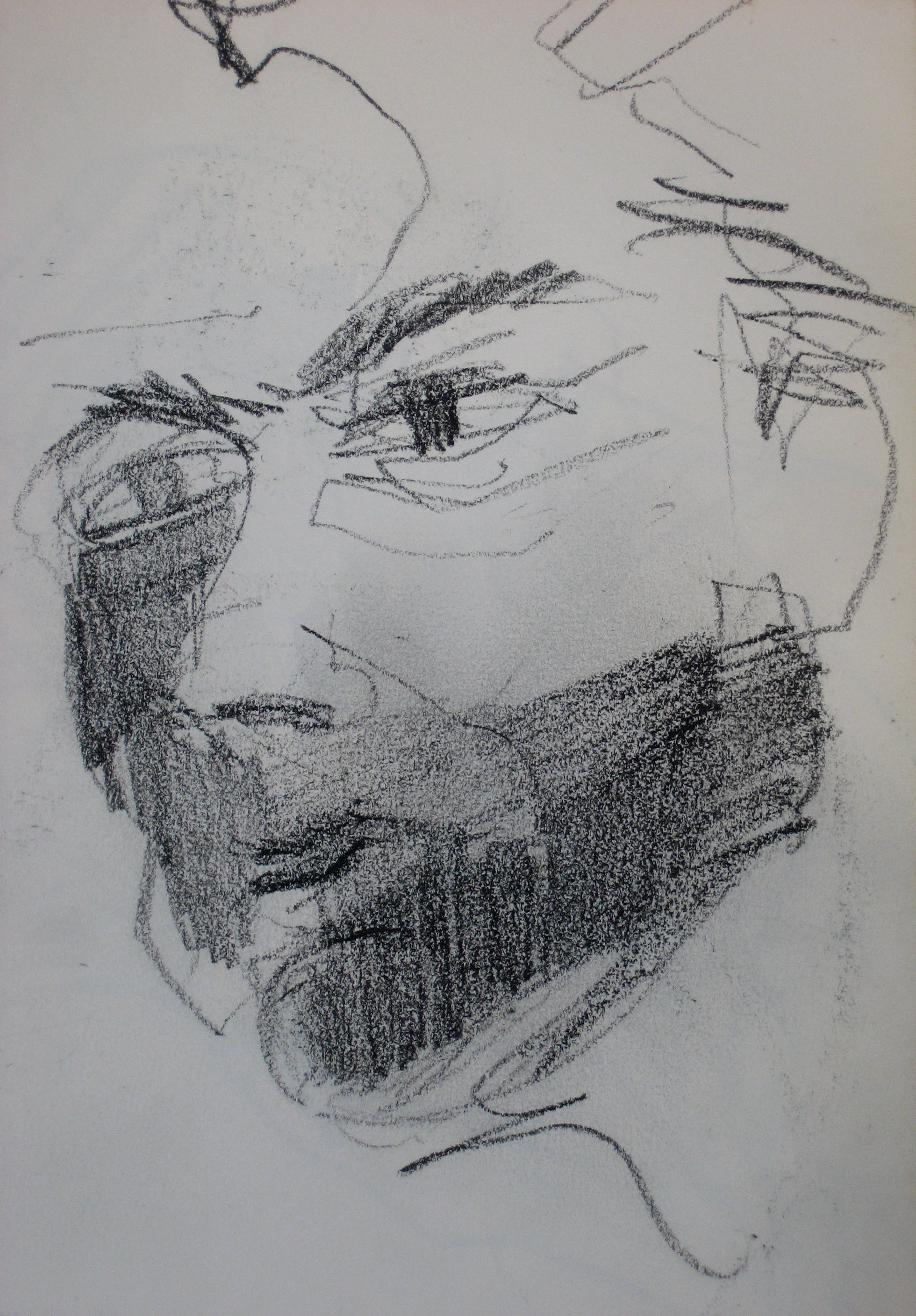 Face Sketch in Shadow<br>Charcoal 1950-60s<br><br>#0285