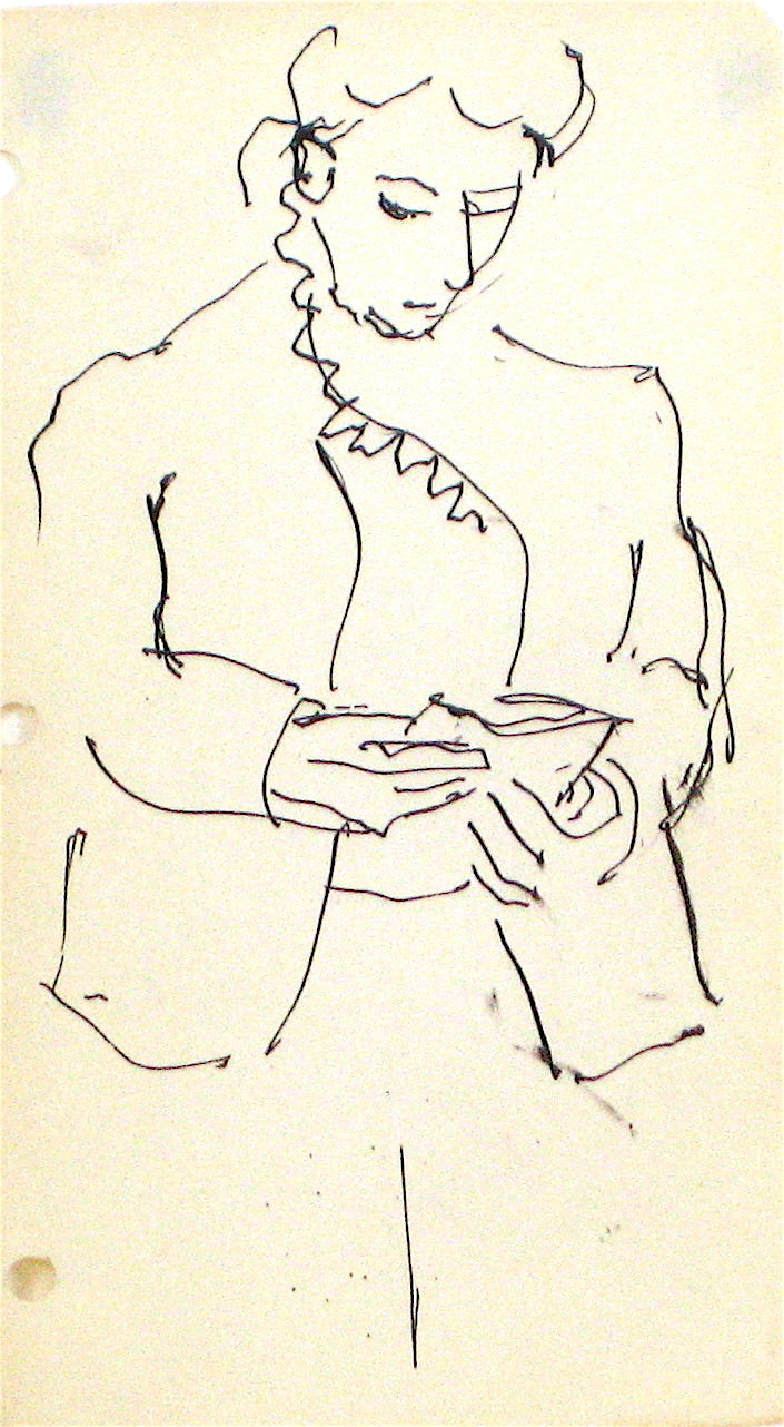 Woman Reading - Sketch<br>1940-60s<br><br>#10372