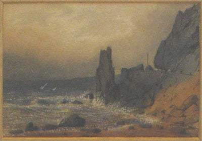 Rocky Coast Watercolor on Paper<br>Early-Mid 1800s<br><br>#10154