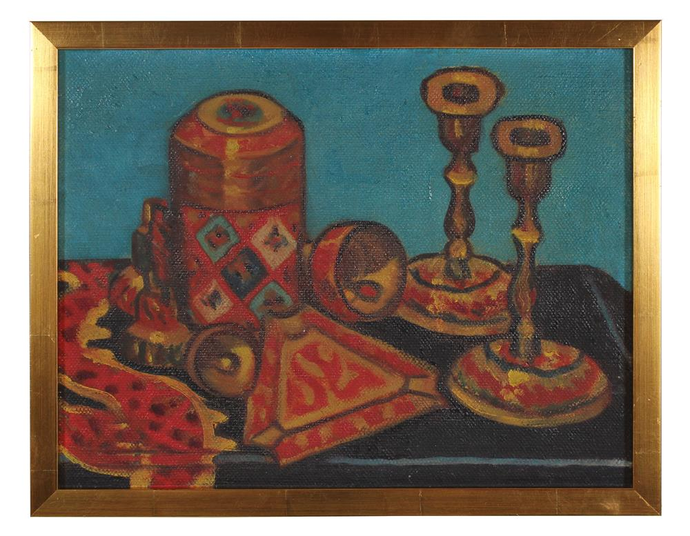 <i>Still Life with Candle Sticks</i><br>Mid Century Oil<br><br>#91100