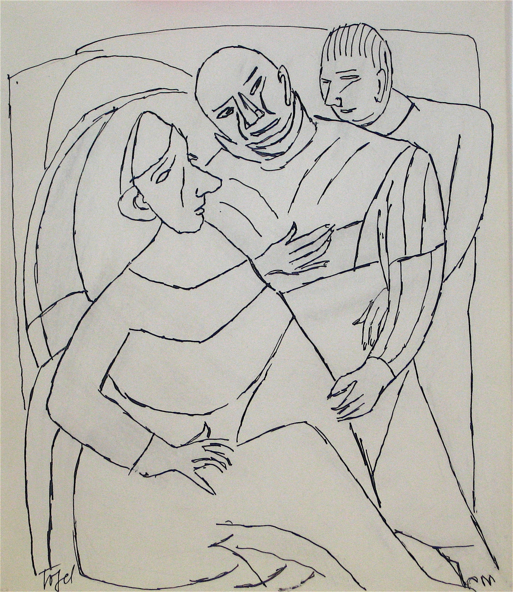 Abstracted Figures with Monk and Nun <br>Early 20th Century Ink on Paper <br><br>#11197