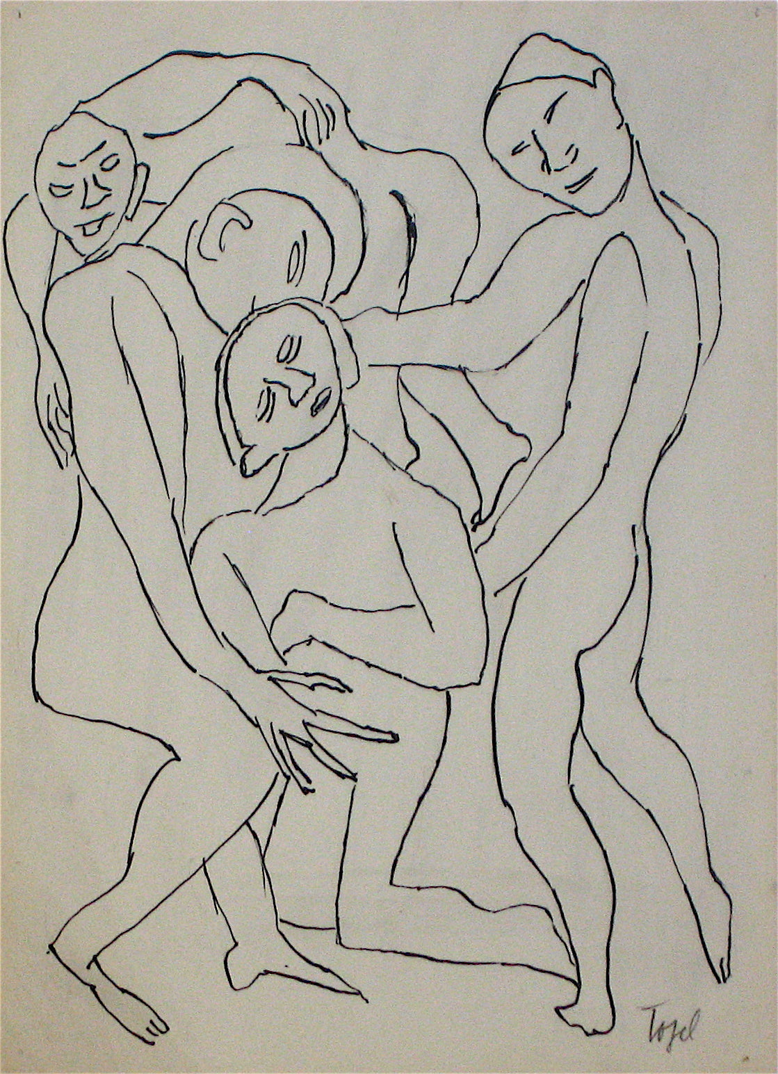 Abstracted Figures in a Scene <br>Early 20th Century Ink on Paper <br><br>#11205