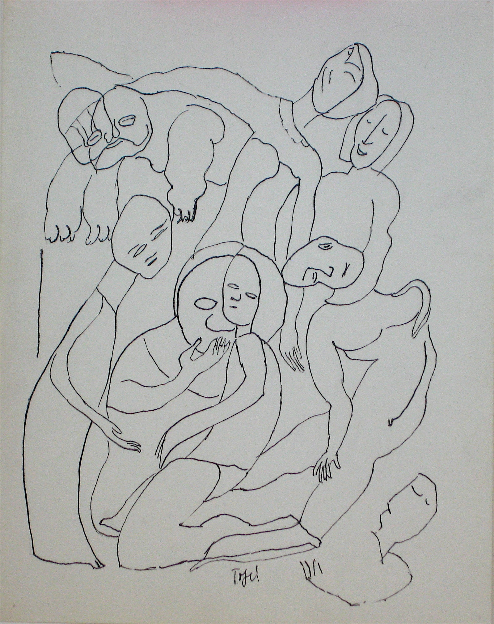 Abstracted Figures <br>Early 20th Century Ink <br><br>#11222