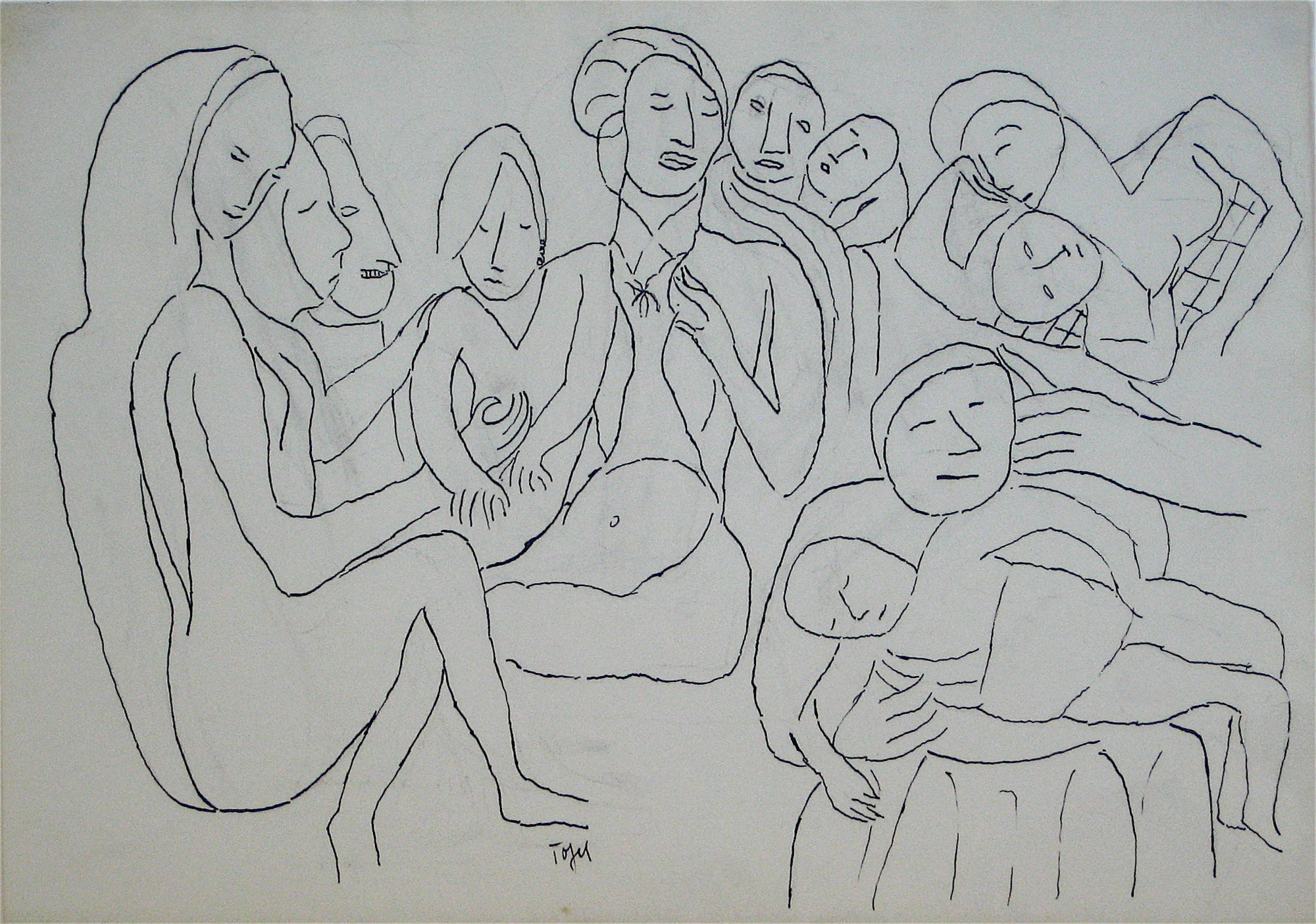 Abstracted Figure Scene <br>Early 20th Century Ink<br><br>#11227
