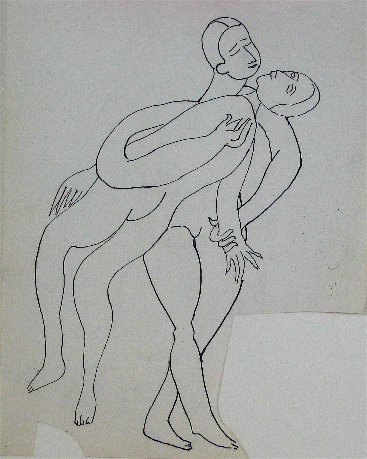 Abstracted Nude Figures Entwined <br>Early 20th Century Ink on Paper <br><br>#11230