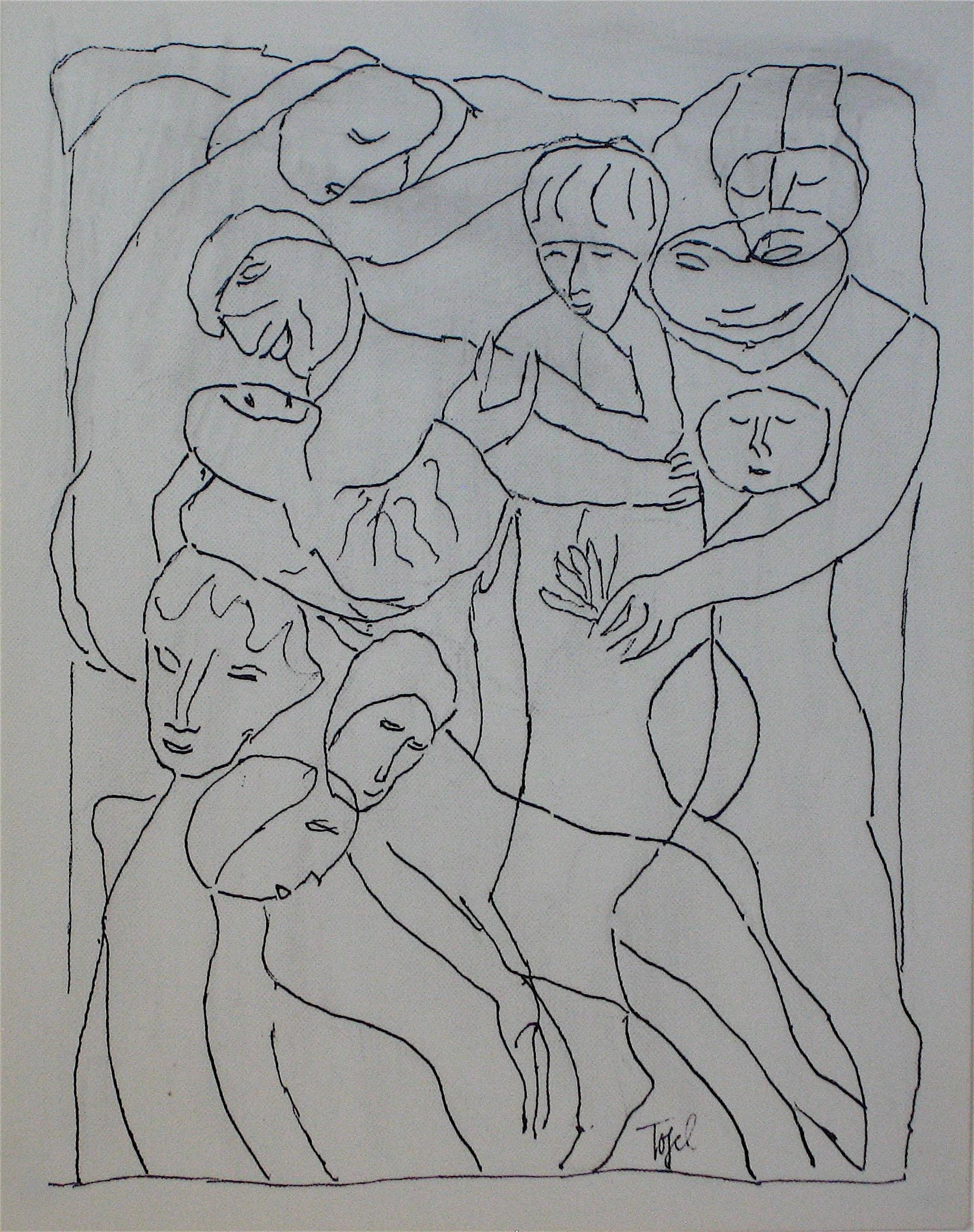 Abstracted Figures in a Scene<br>Early 20th Century Ink<br><br>#11254