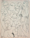 Topsy-Turvey Minimalist Figures <br>Early 20th Century Ink <br><br>#11258