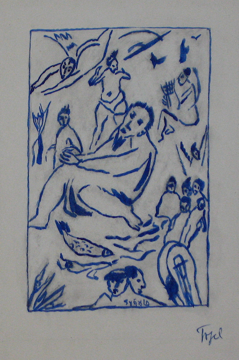 Nude Blue Figurative Scene <br>Early 20th Century ink <br><br>#11322