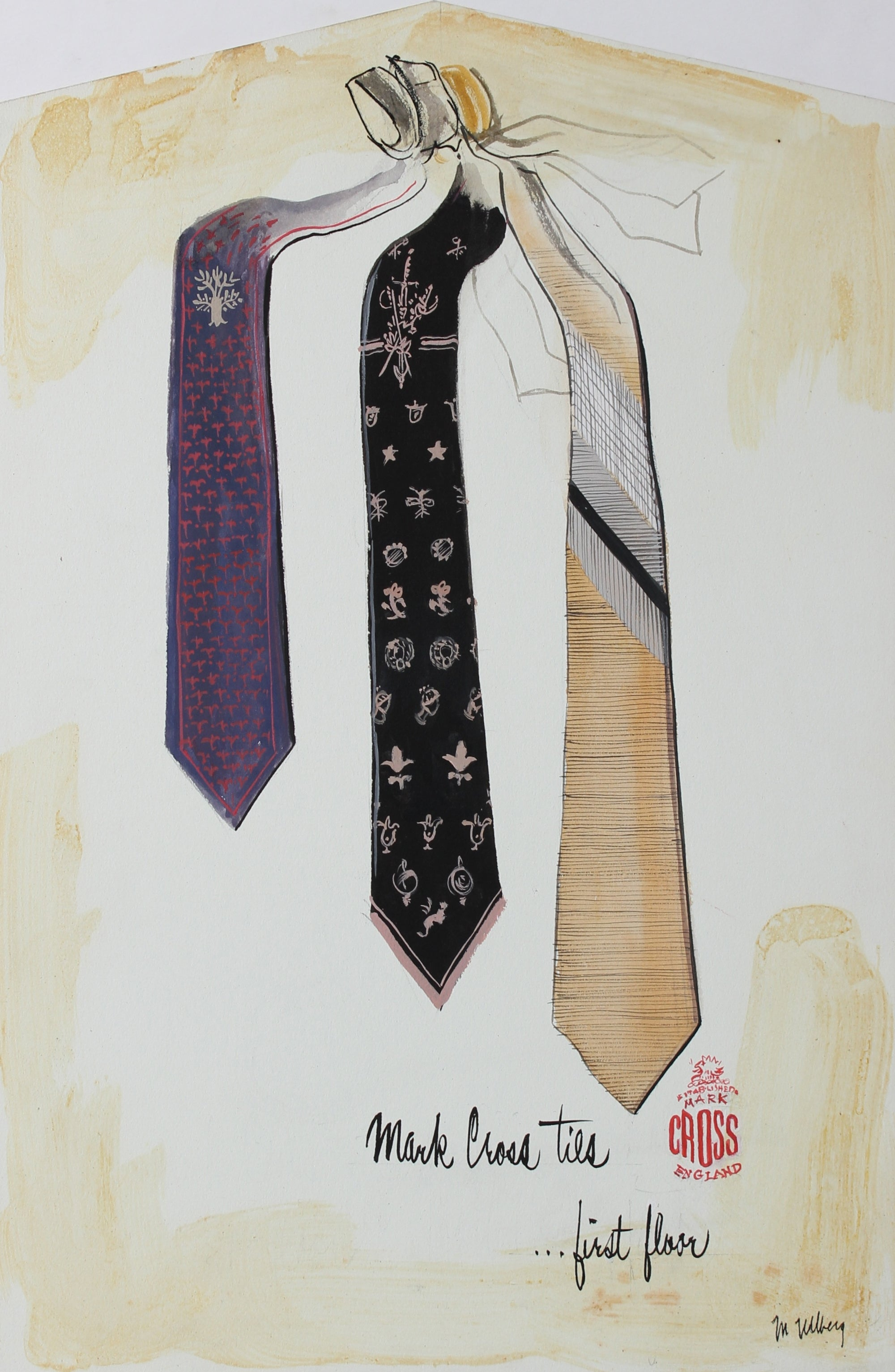 Men's Ties Fashion Proof<br>Gouache, 1946-54<br><br>#3583