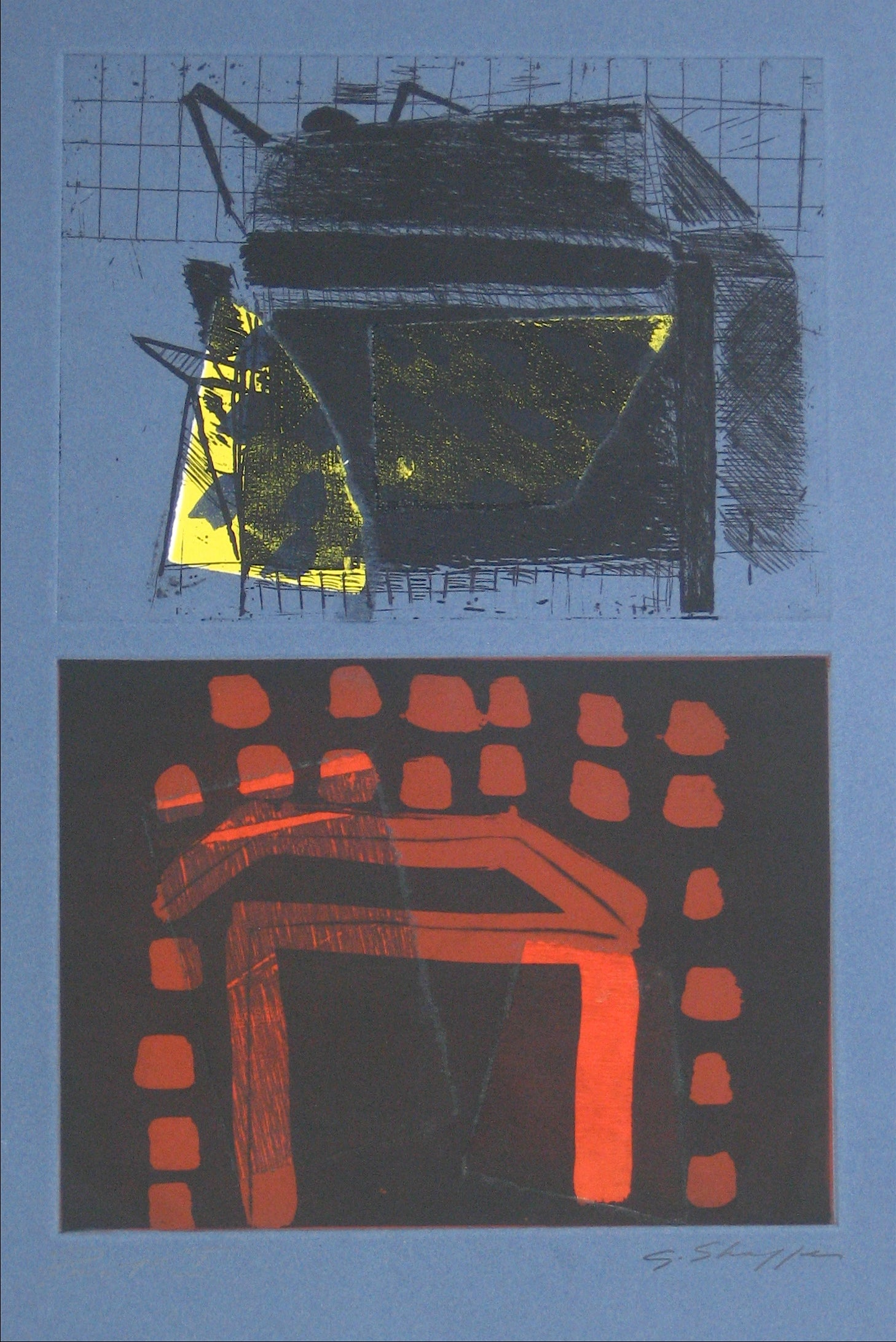 Abstracted Duel Image <br>1989 Litho & Chine Colle <br><br>#11768