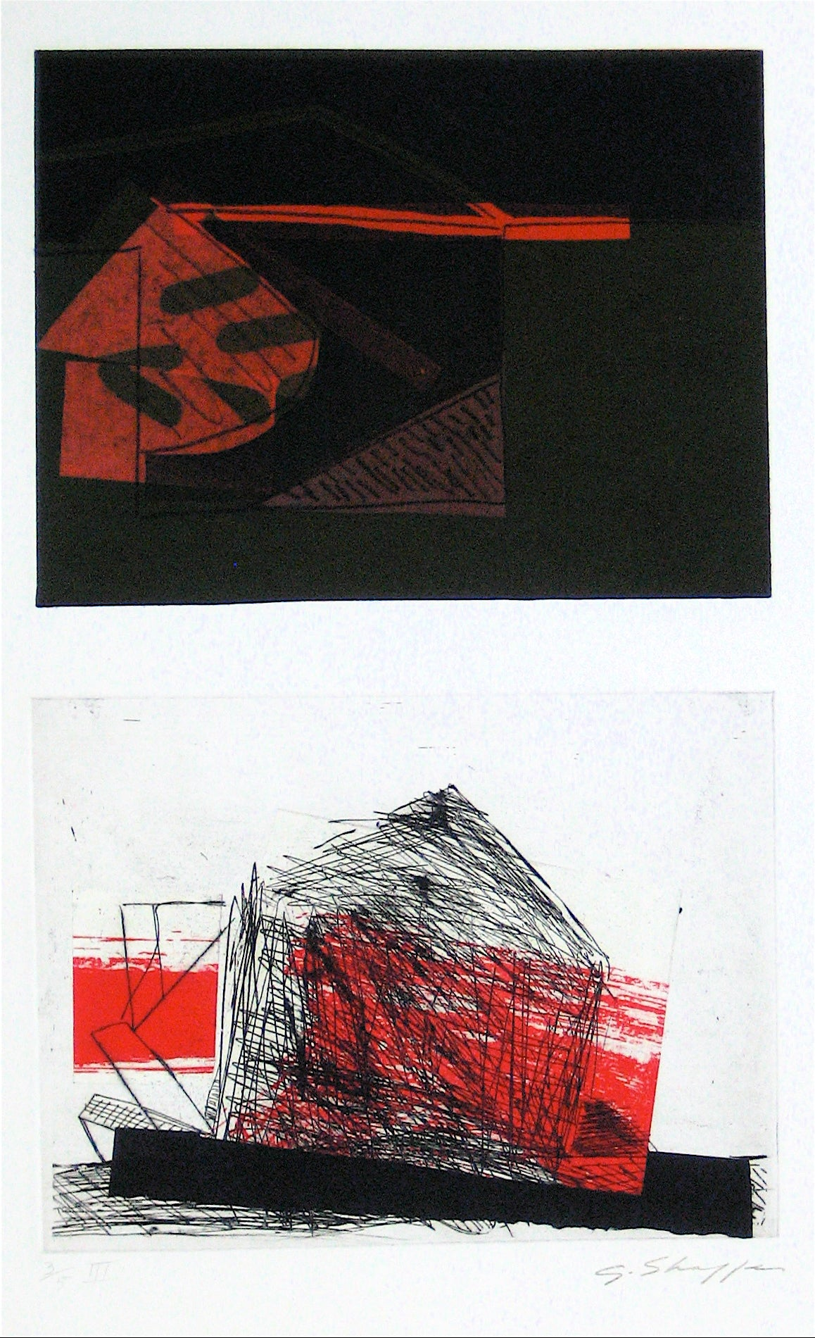 Abstracted Duel Image <br>1989 Litho & Chine Colle <br><br>#11773