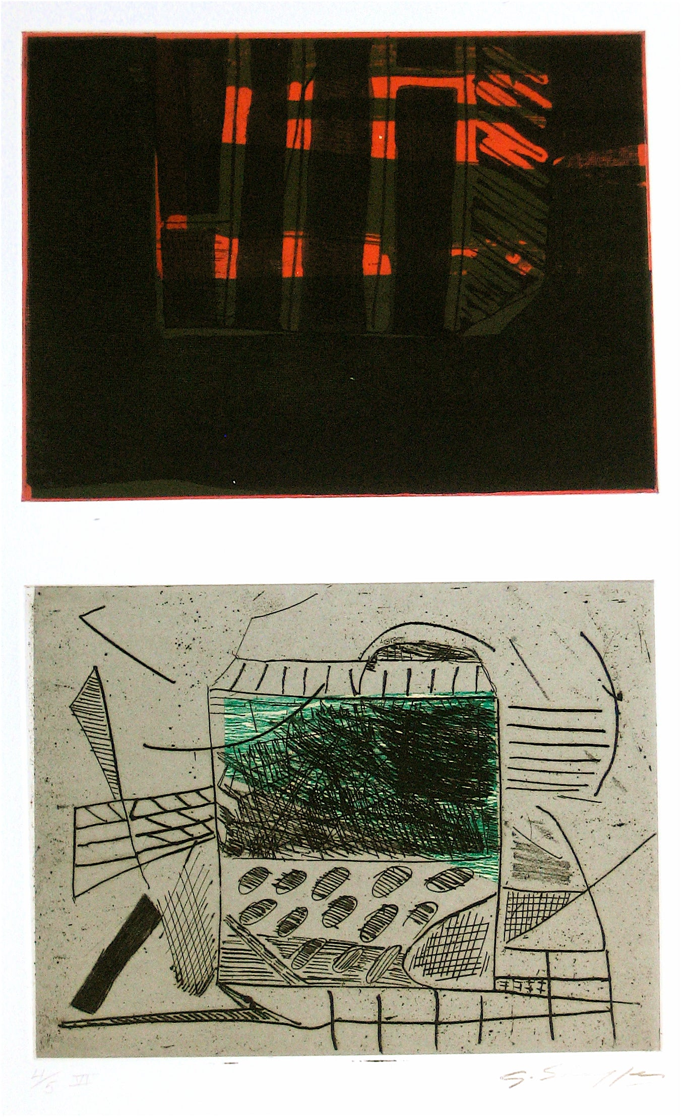 Abstracted Duel Image <br>1989 Litho & Chine Colle <br><br>#11780