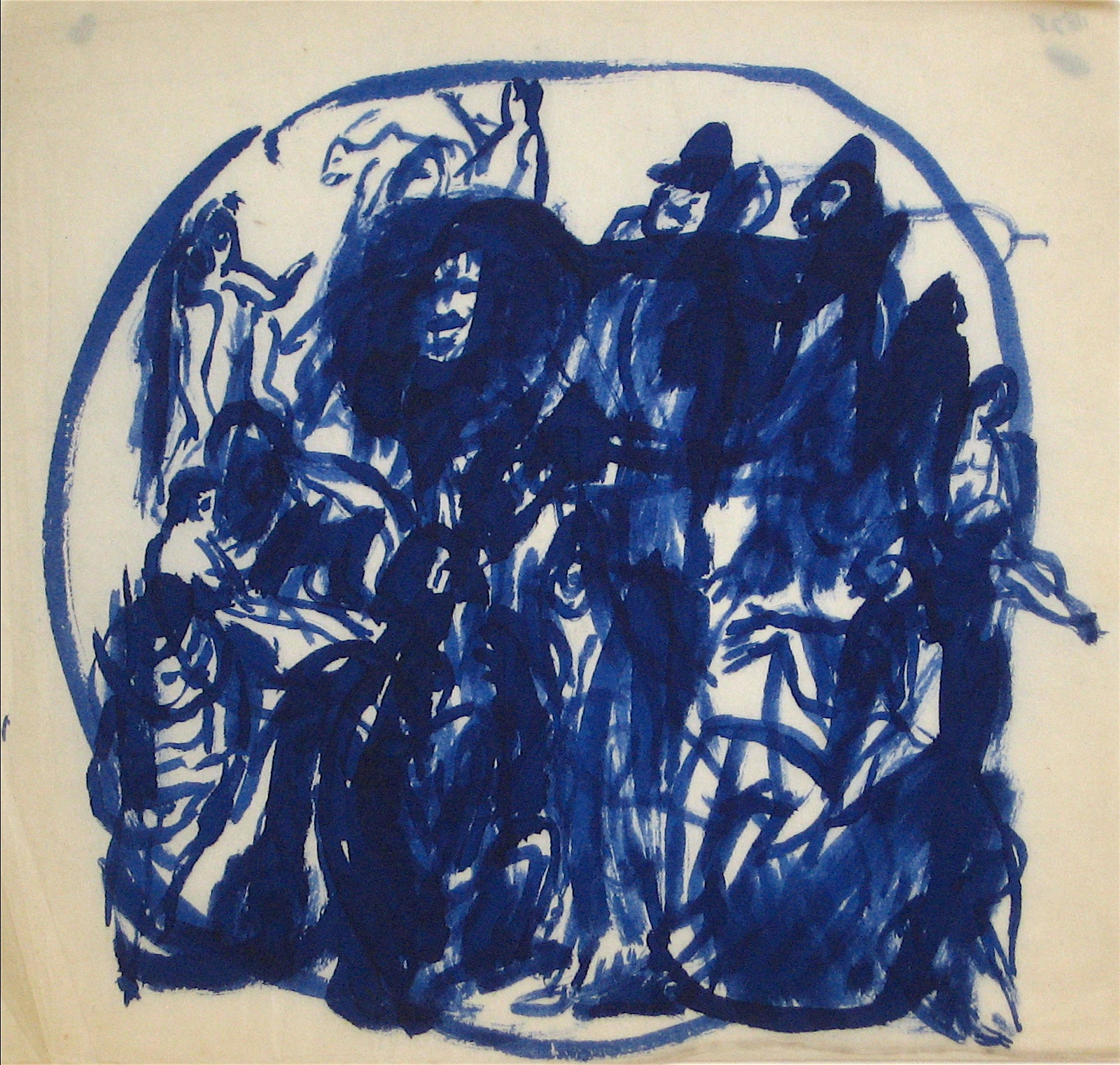 Blue Figures in a Circle<br>Early-Mid 20th Century Ink Wash<br><br>#11828