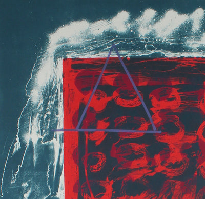 Abstract Expressionist 1974 Red & Blue Lithograph<br><br>#11968