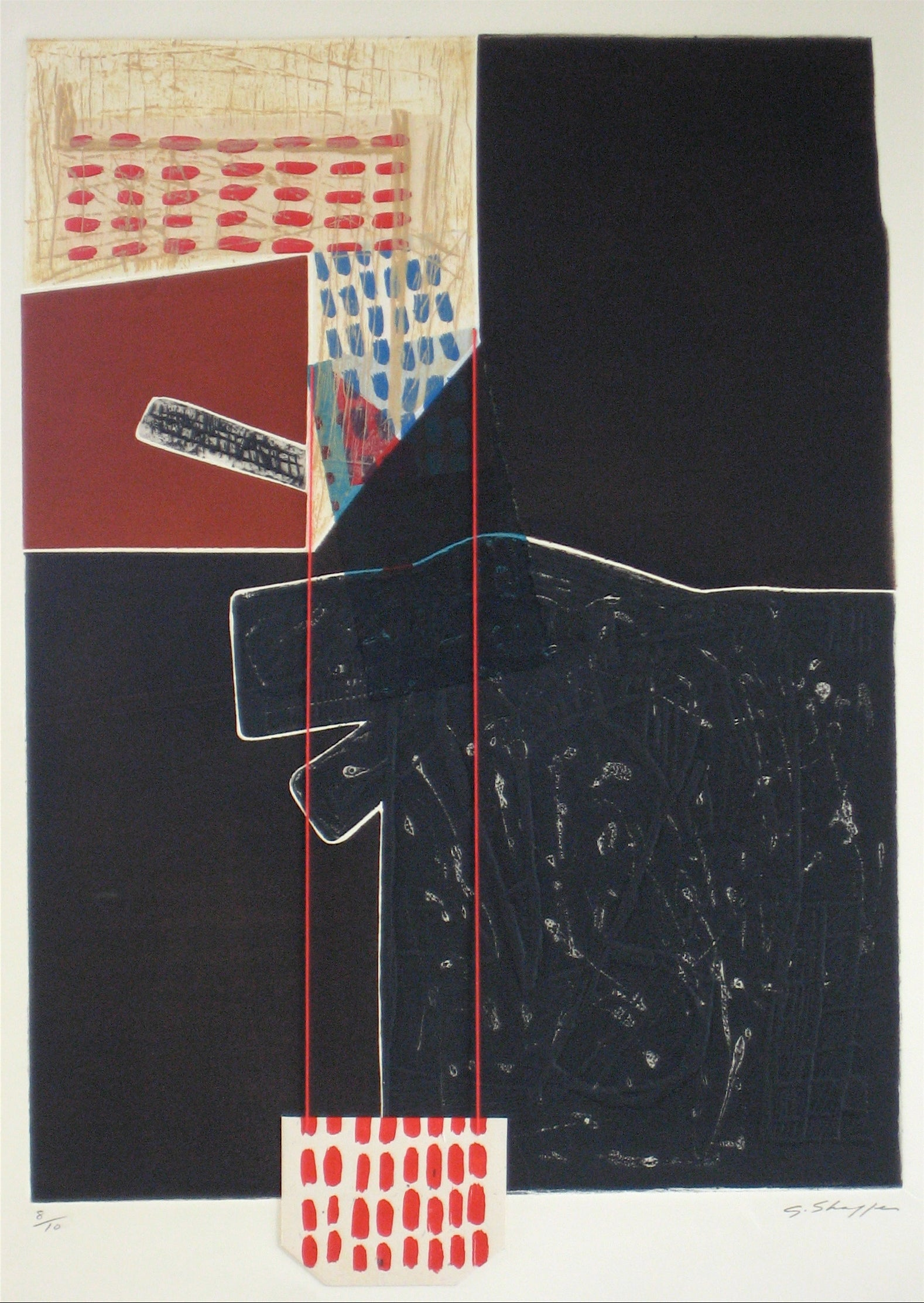 <i>Hang Down House XXI</i> <br>1994 Collograph, Lithography and Mixed Media<br><br>#12016