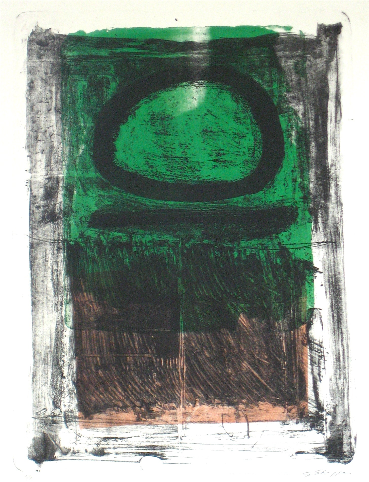 Modernist Green & Black Color Field Abstract <br>1965 Stone Lithograph <br><br>#12023