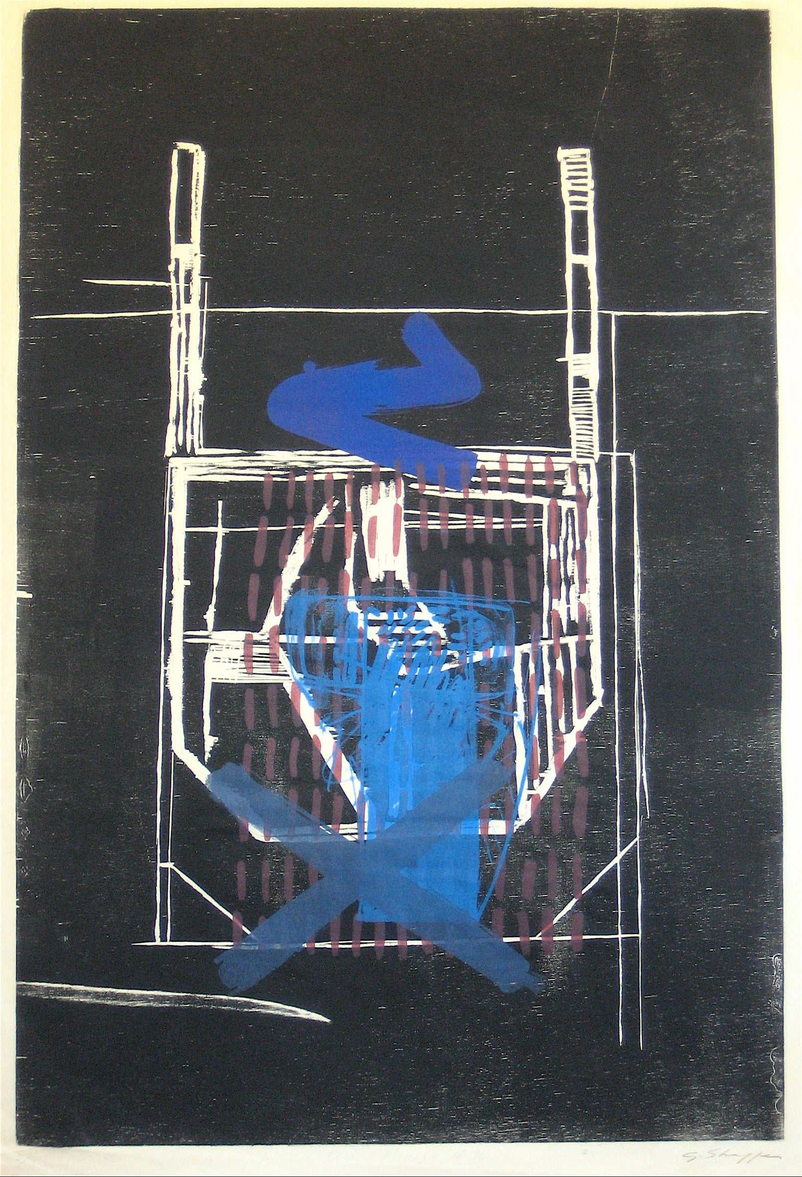 <i>Hang Down House #30</i> <br>1998 Woodcut and Lithography <br><br>#12041