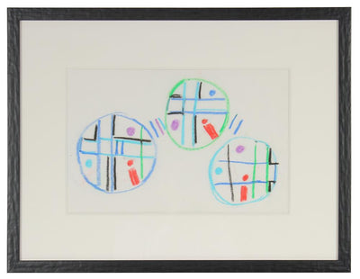 Three Circles - A Study <br>Mid Century Oil Pastel <br><br>#71974