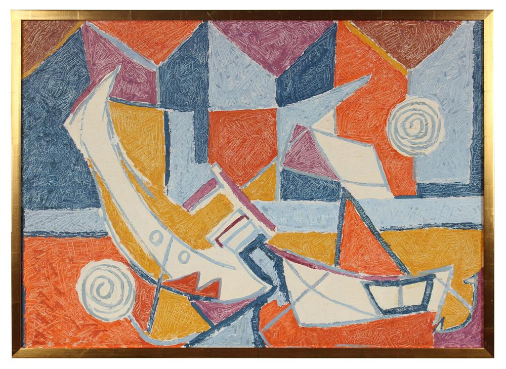 <i>Ships & Shapes</i><br>Mid Century Oil Abstract<br><br>#91263