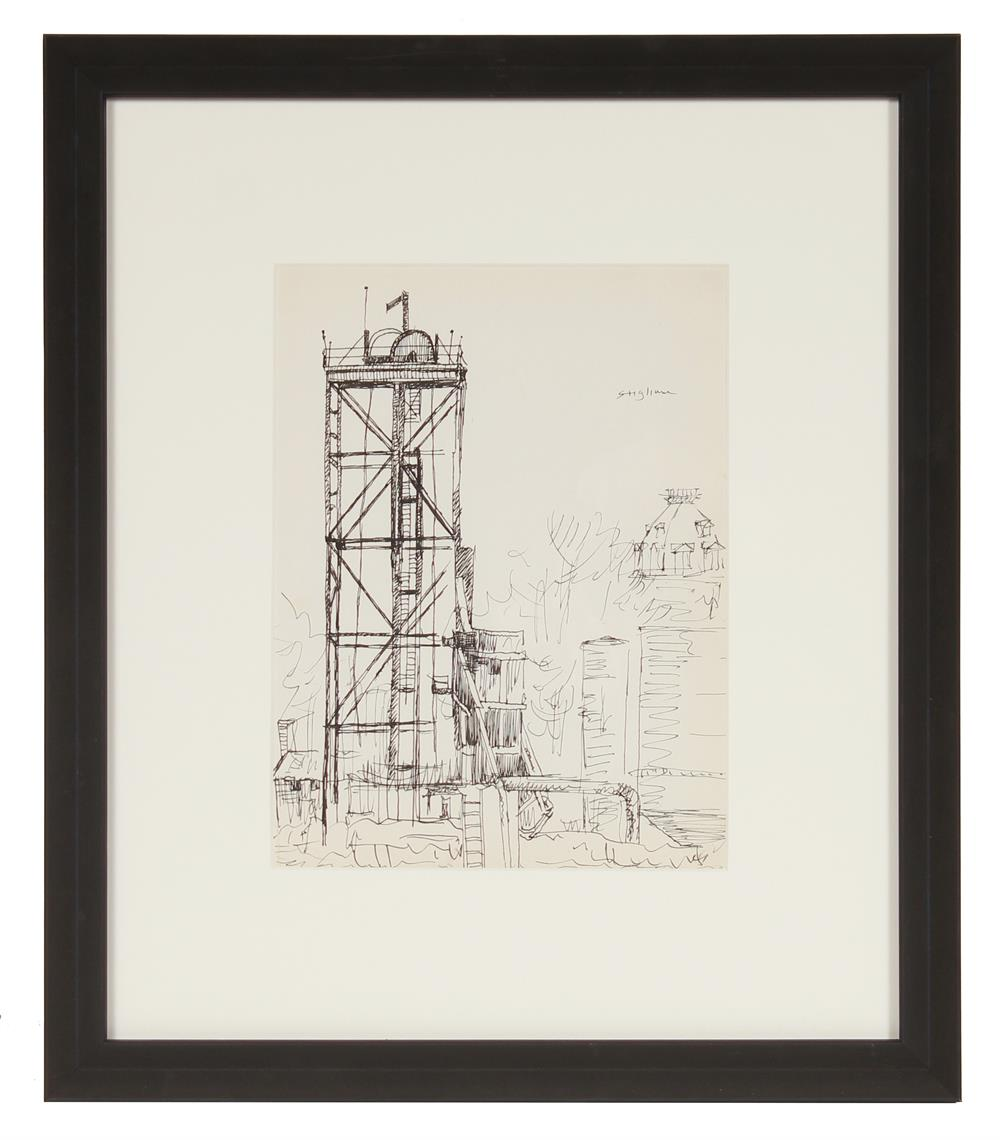Industrial Line Drawing<br>Mid Century Ink<br><br>#71998