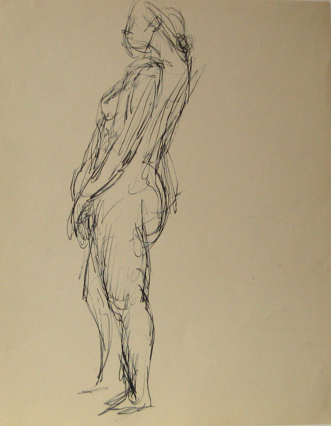 Loose Sketch of Standing Figure <br>Early 20th Century Ink <br><br>#13118