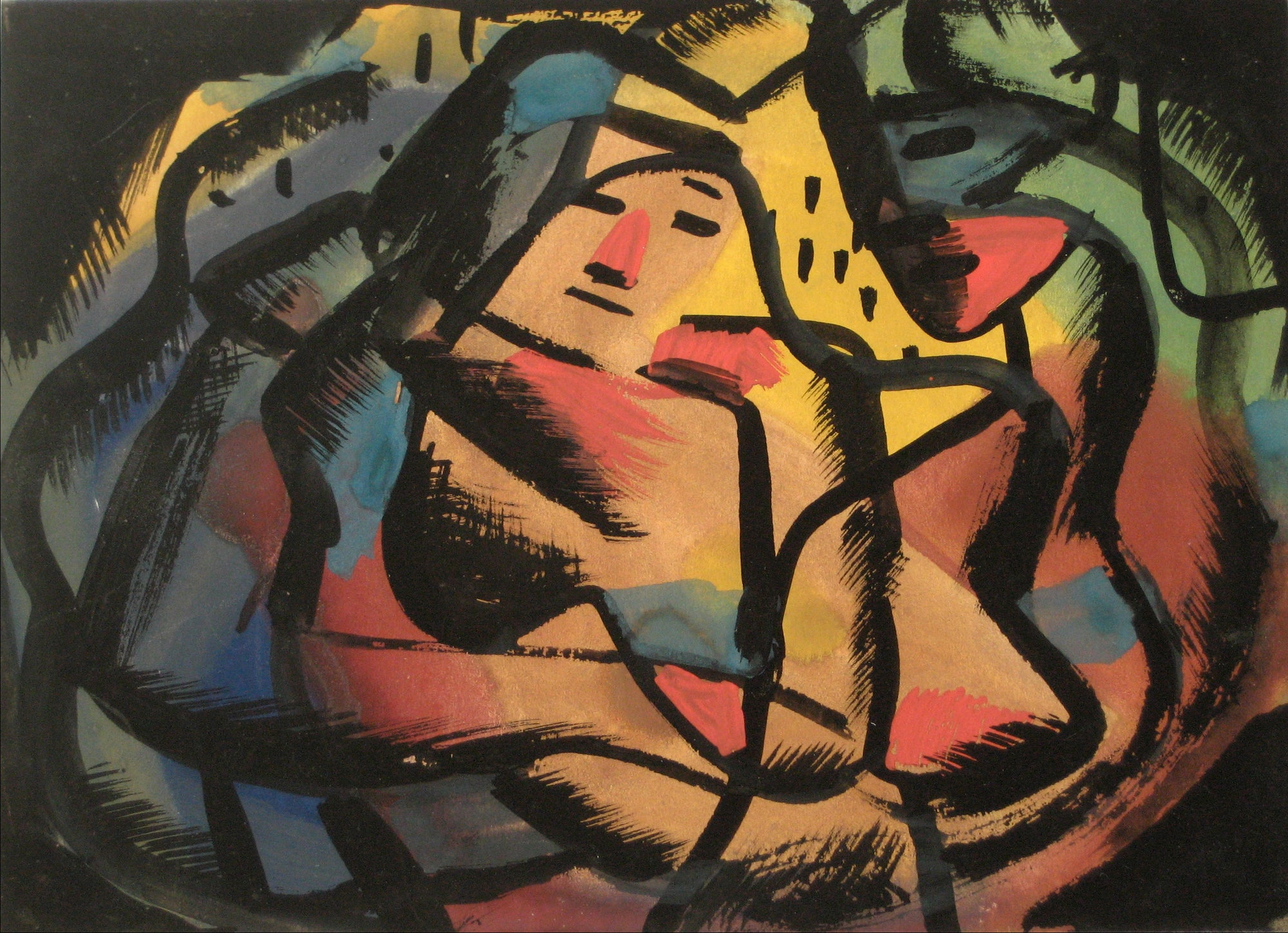 Vibrant Abstracted Figure<br>1930-60s, Tempera Paint on Paper<br><br>#13181