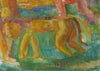 Colorful Expressionist Dancing Figures with Lion <br>Early-Mid 20th Century Watercolor <br><br>#13230