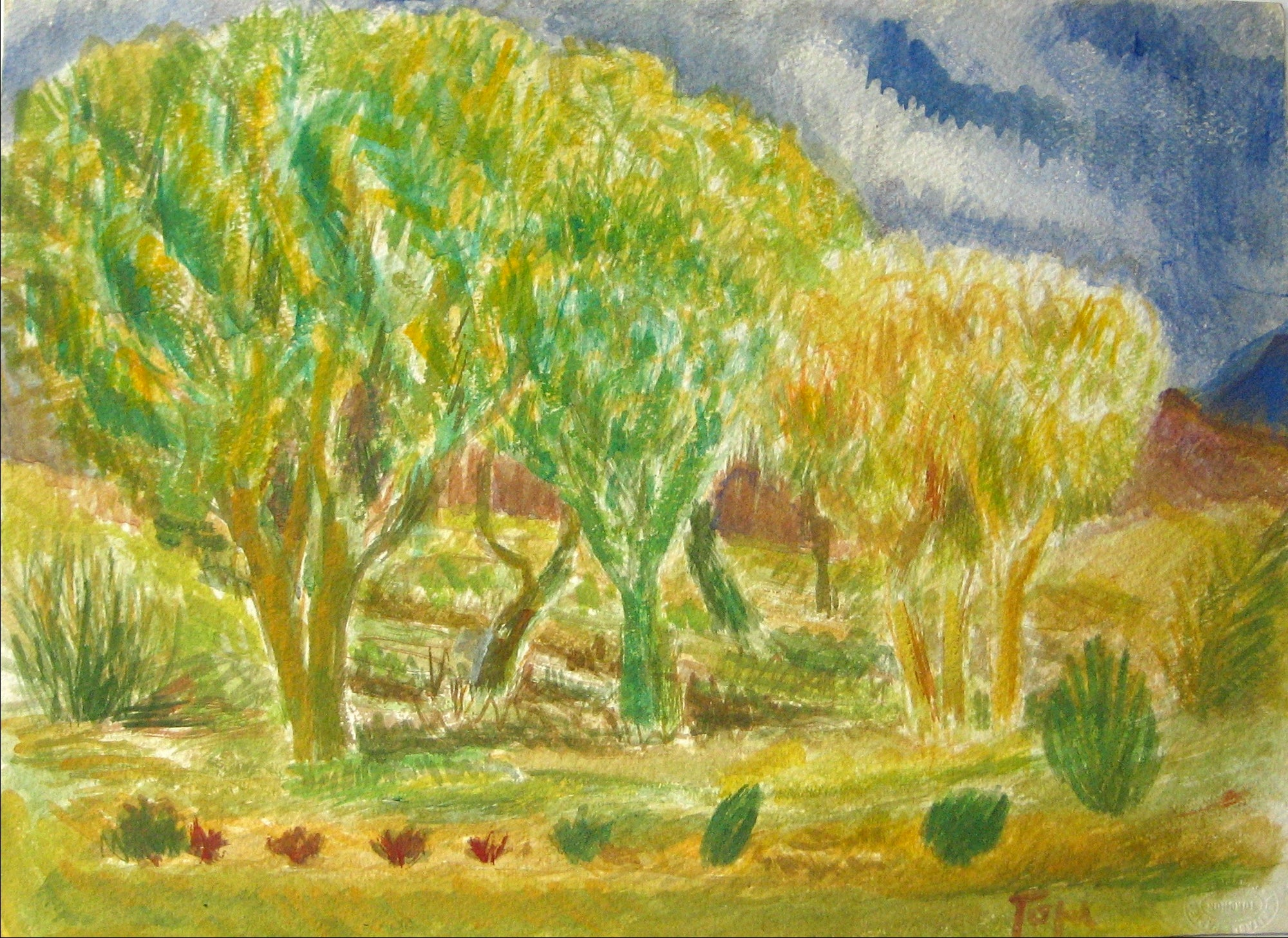 Expressive Landscape with Trees<br>Early-Mid 20th Century Watercolor<br><br>#13243