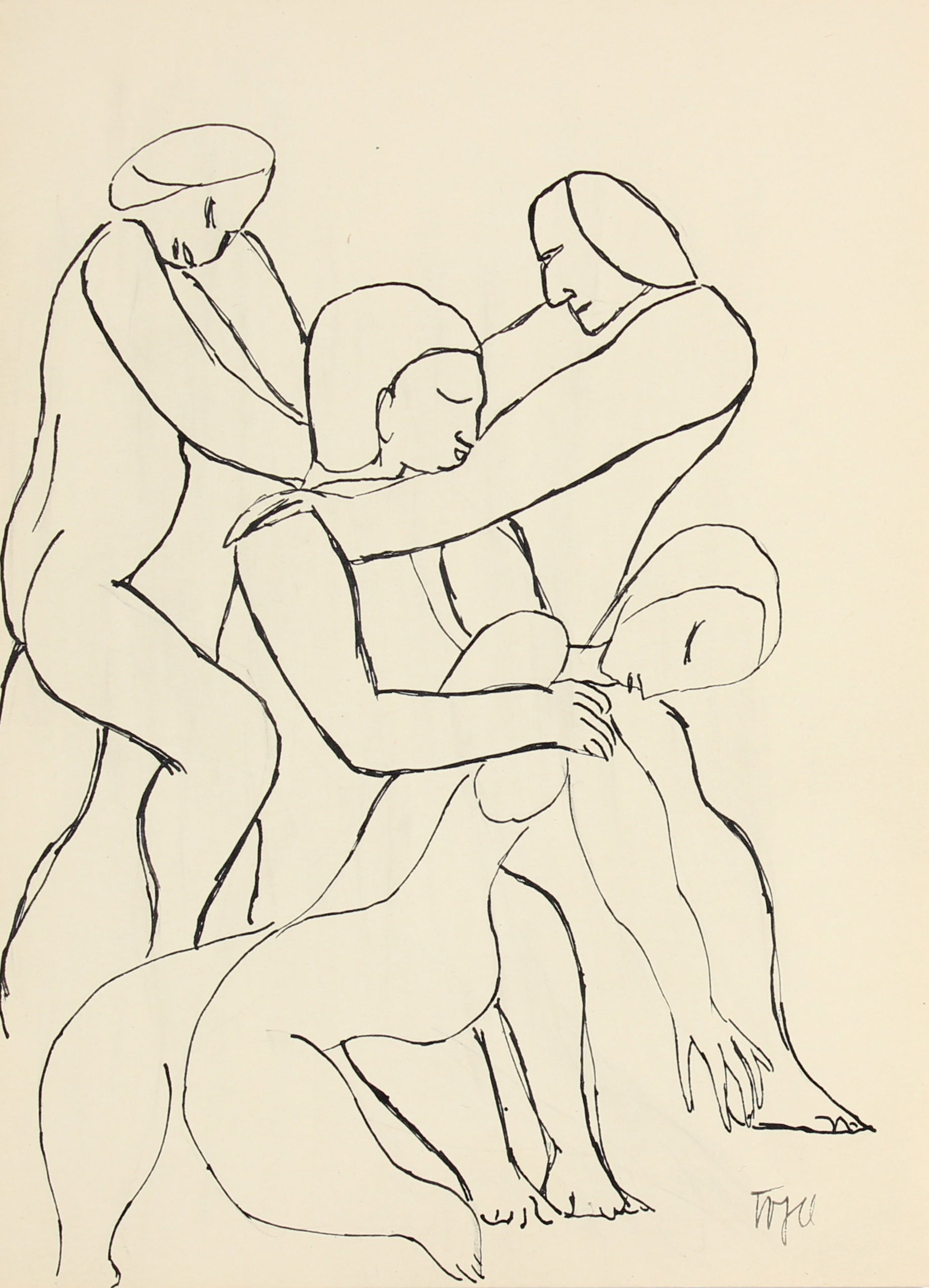 Abstracted Figures in a Scene <br>Early 20th Century Ink <br><br>#13303