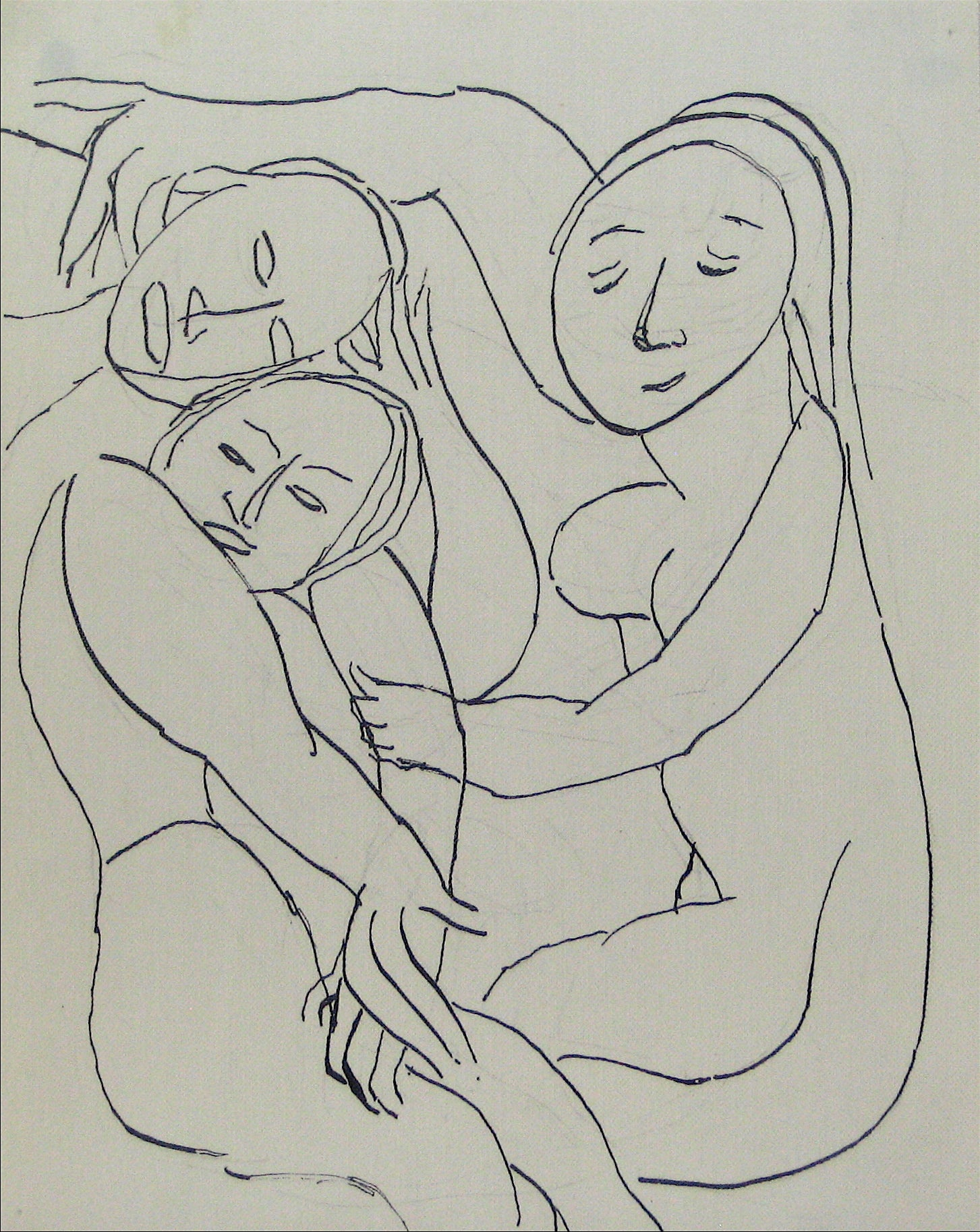 Abstracted Figures in a Scene <br>Early-Mid 20th Century Pen and Ink <br><br>#13526