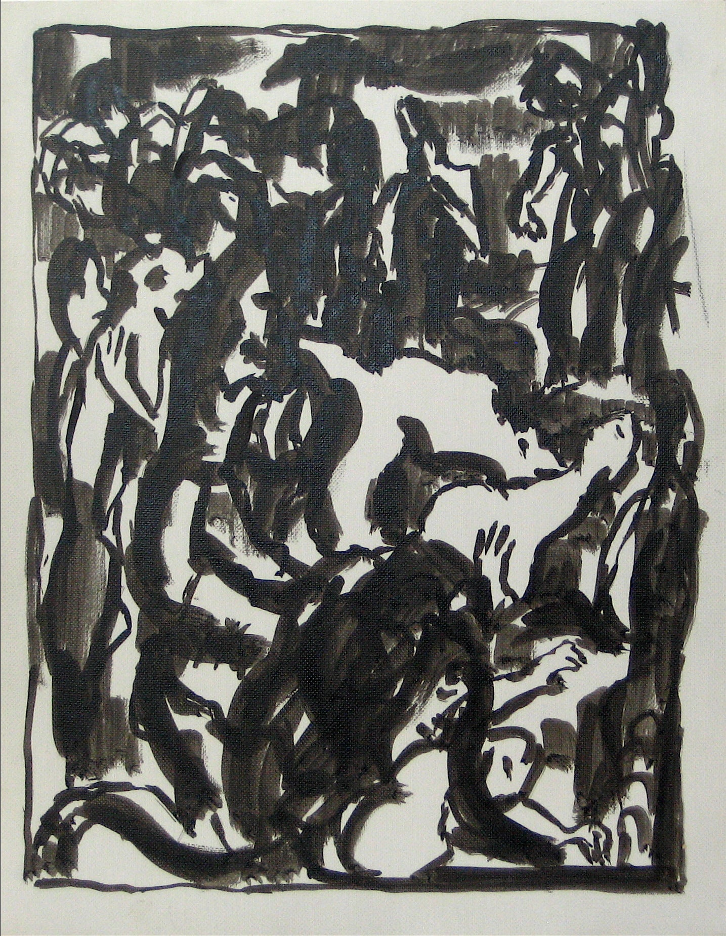 Abstracted Figures in a Scene <br>Early-Mid 20th Century Pen and Ink <br><br>#13527