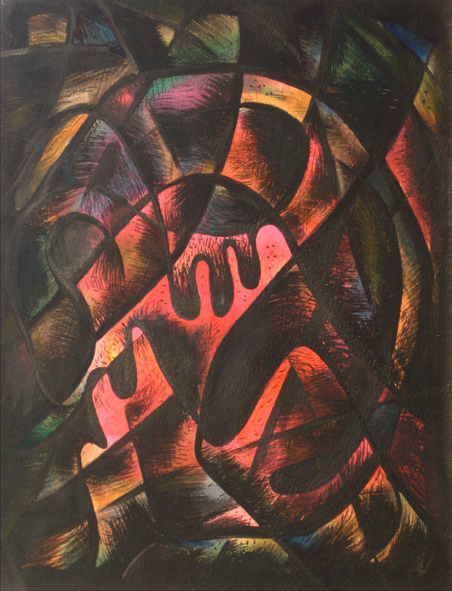 Neon Surrealist Abstract<br>1940s, Tempera Paint on Paper<br><br>#13529