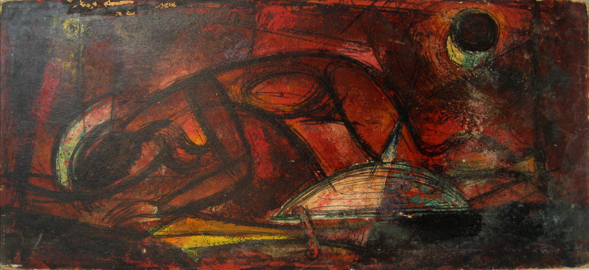 Abstracted Crouched Figure in Red<br>1950-60s Oil<br><br>#13535