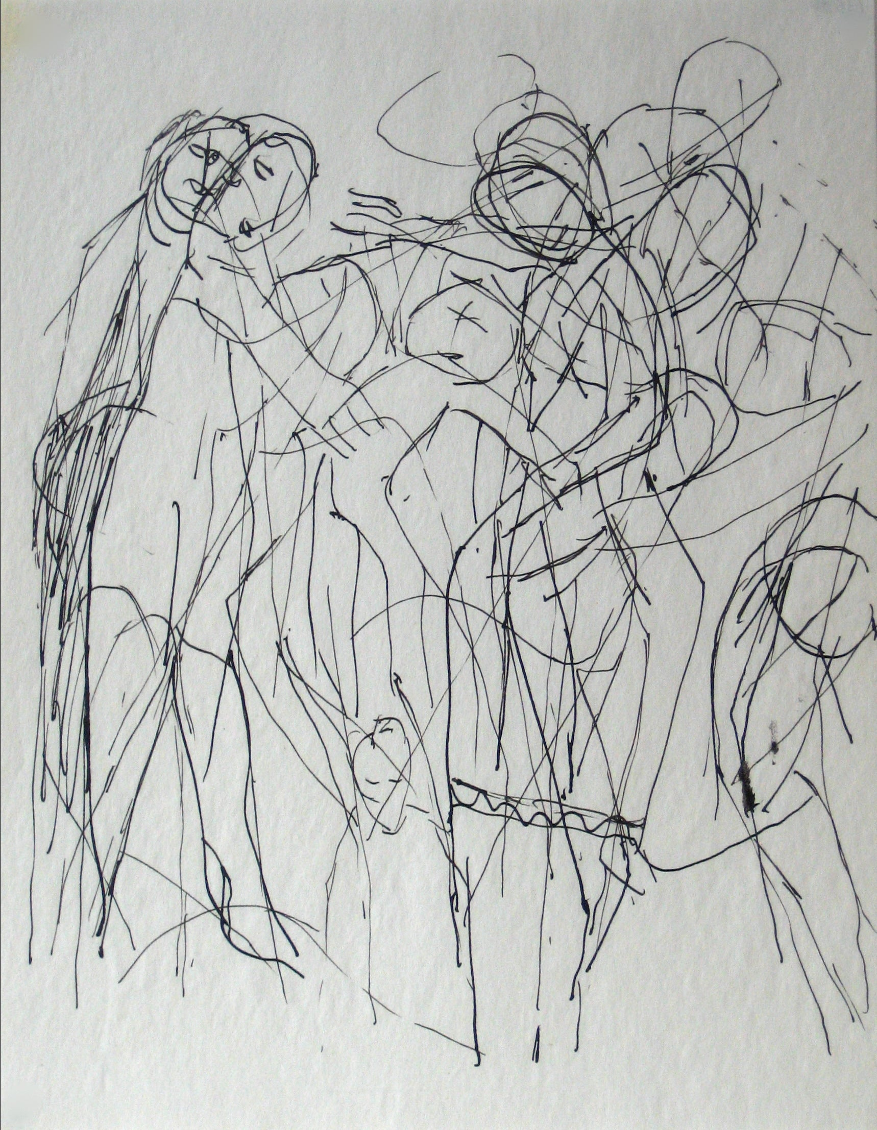 Sketch of Multiple Abstracted Figures <br>Early-Mid 20th Century Ink on Paper <br><br>#13580