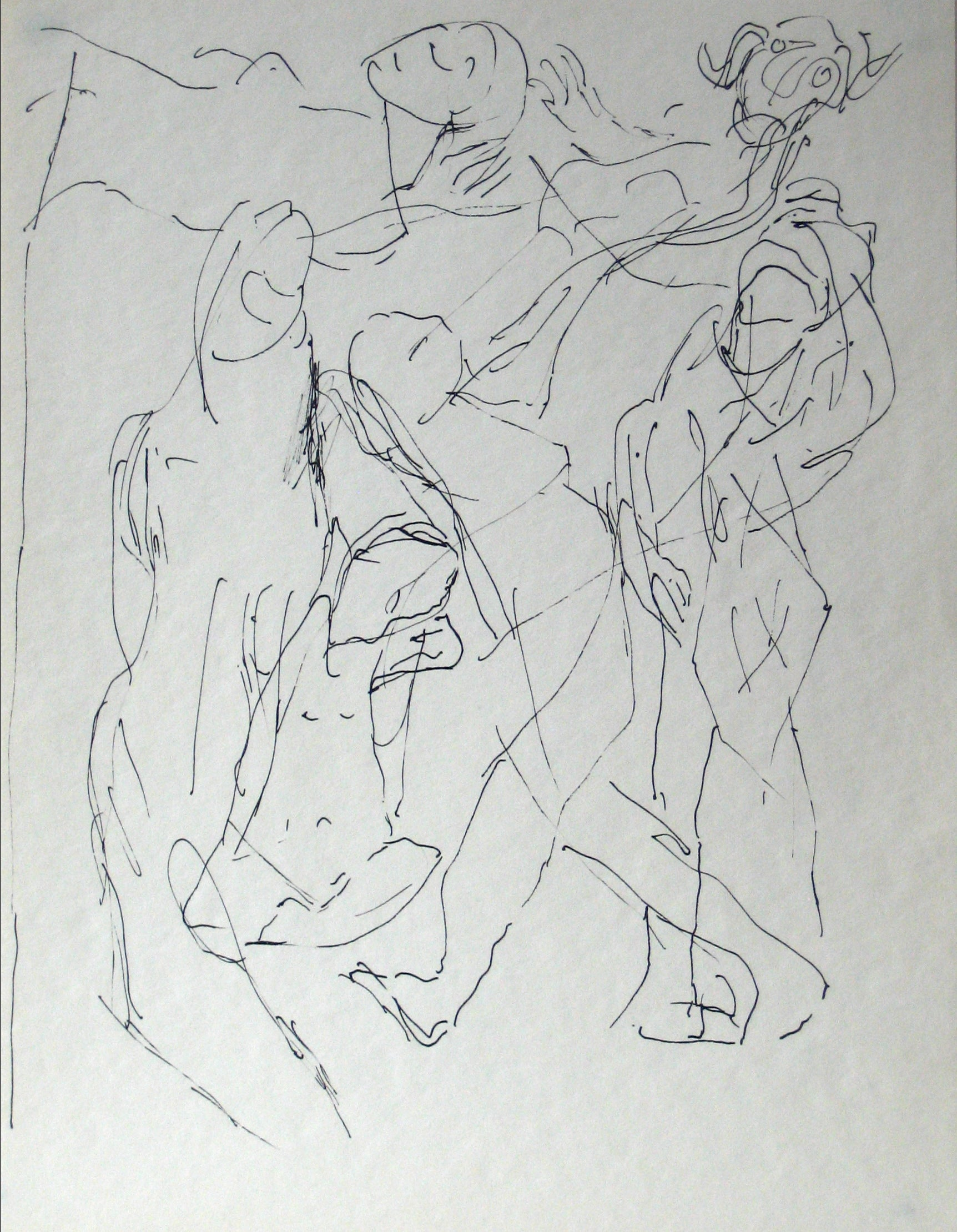 Abstracted Figures in a Scene <br>Early-Mid 20th Century Ink on Paper <br><br>#13584