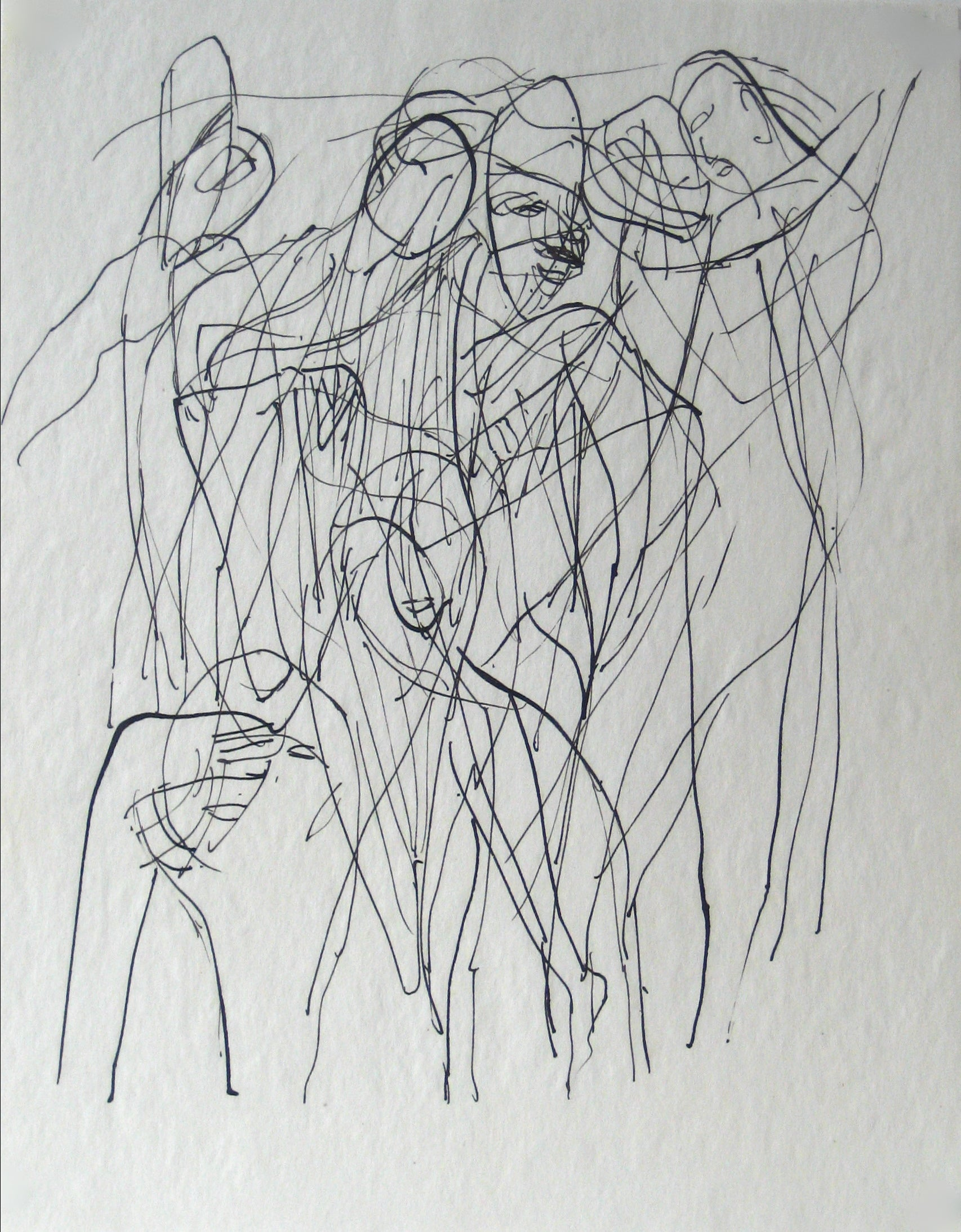 Abstracted Figures in a Scene <br>Early 20th Century Ink on Paper <br><br>#13604