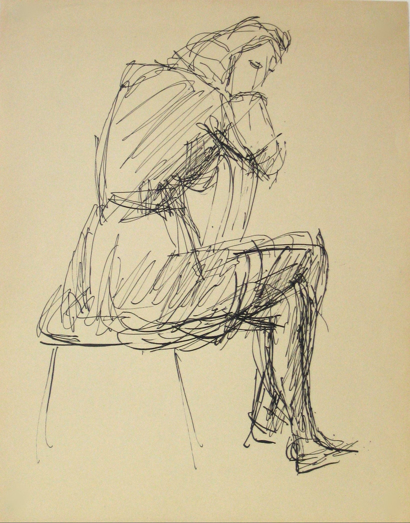 Woman in a Chair - Expressionist Drawing<br>Early-Mid 20th Century Ink<br><br>#13631